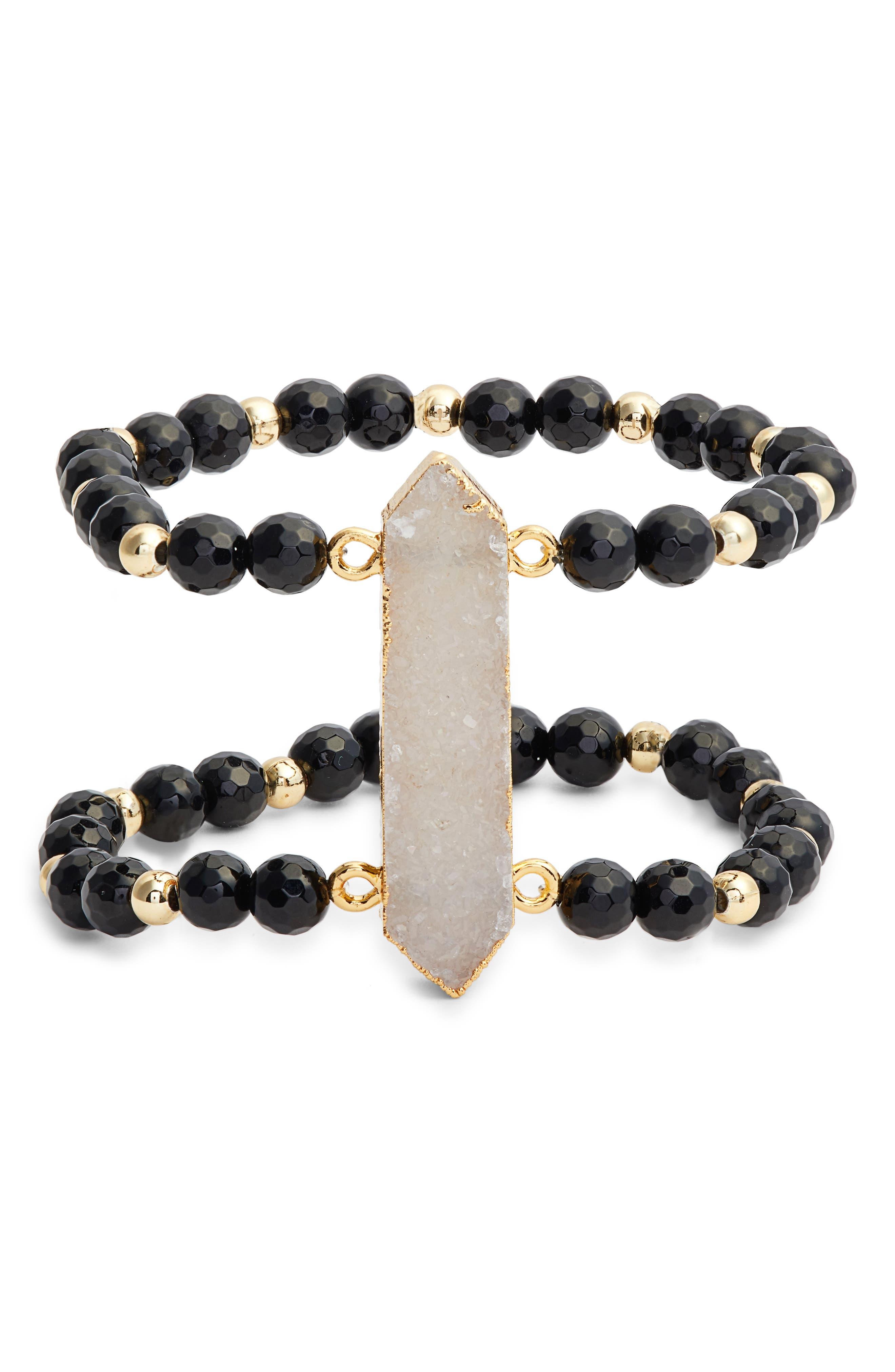 Candice Double Stretch Bracelet,                             Main thumbnail 1, color,                             Black