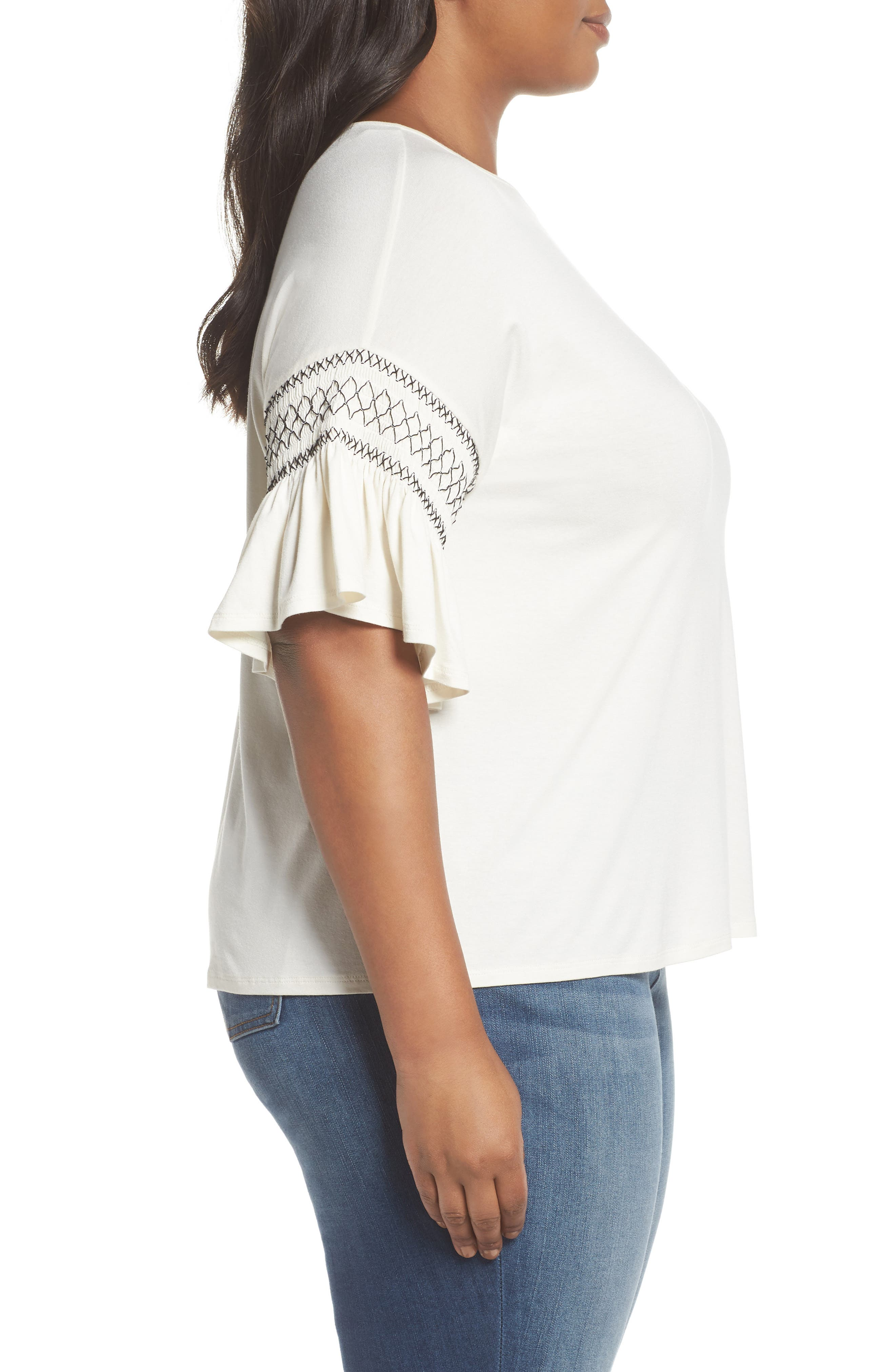 Smocked Ruffle Sleeve Top,                             Alternate thumbnail 3, color,                             Antique White