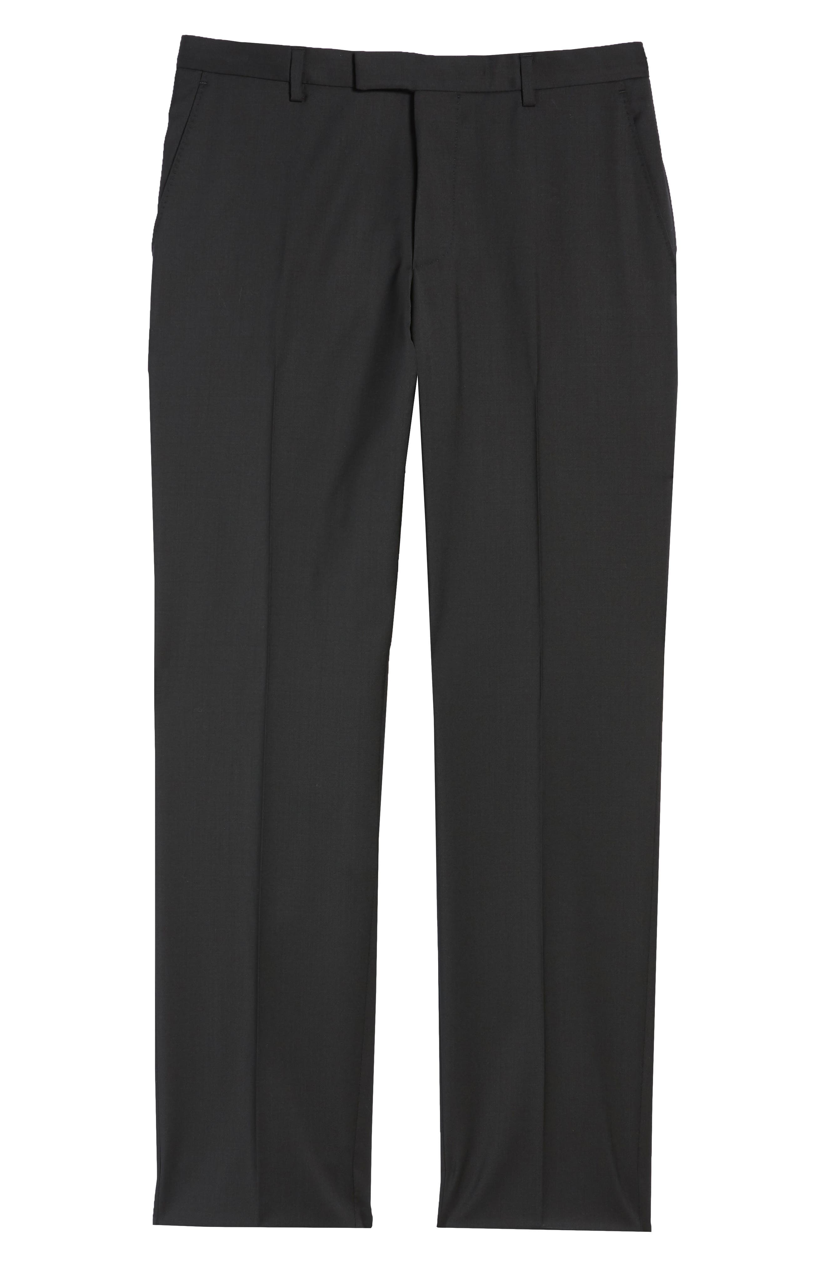 Leenon Flat Front Regular Fit Solid Wool Trousers,                             Alternate thumbnail 6, color,                             Black