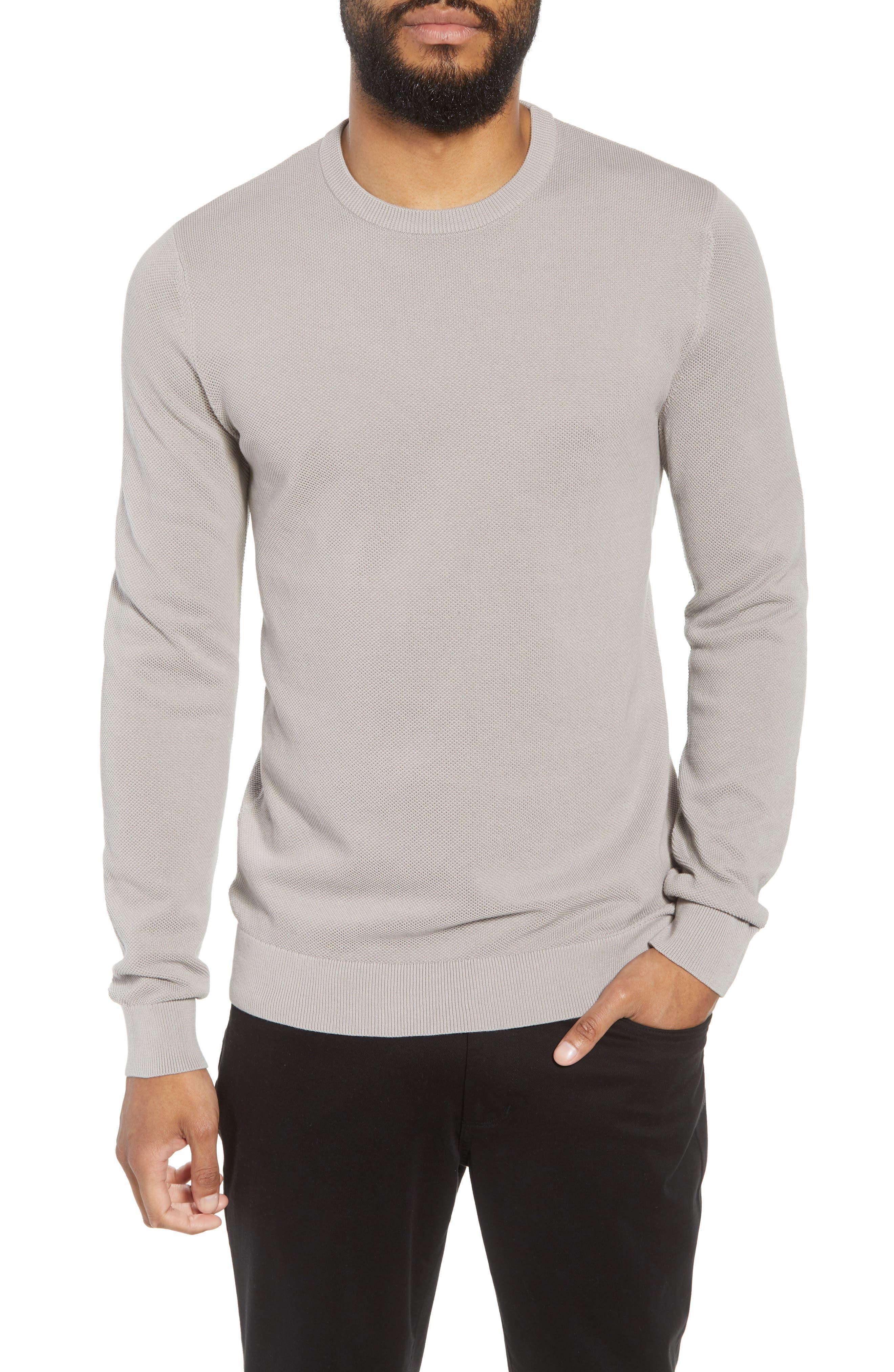 Riland Cotton Long Sleeve T-Shirt,                         Main,                         color, Ash Fabric