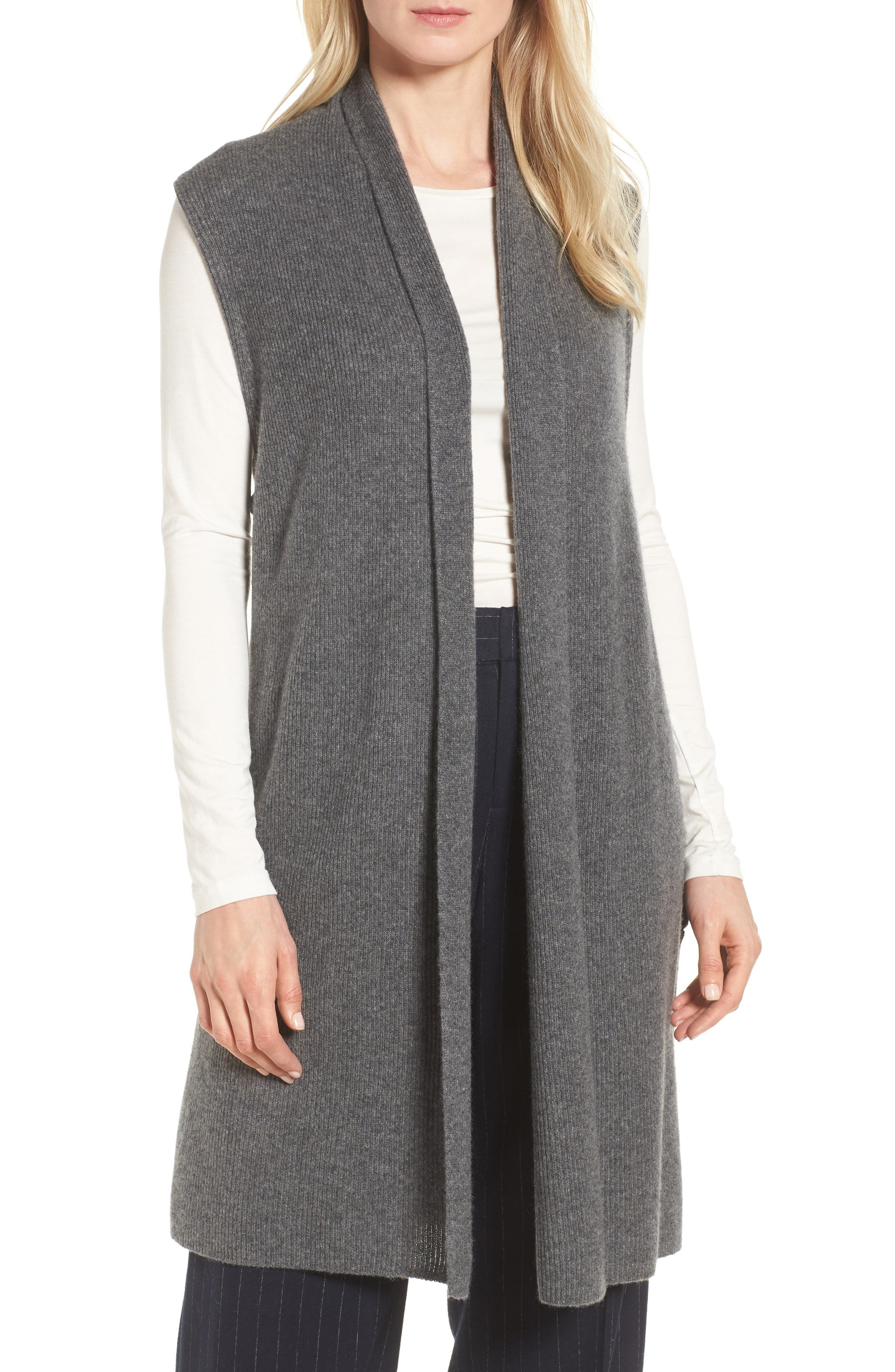 Ribbed Cashmere Vest,                             Main thumbnail 1, color,                             Grey Dark Heather