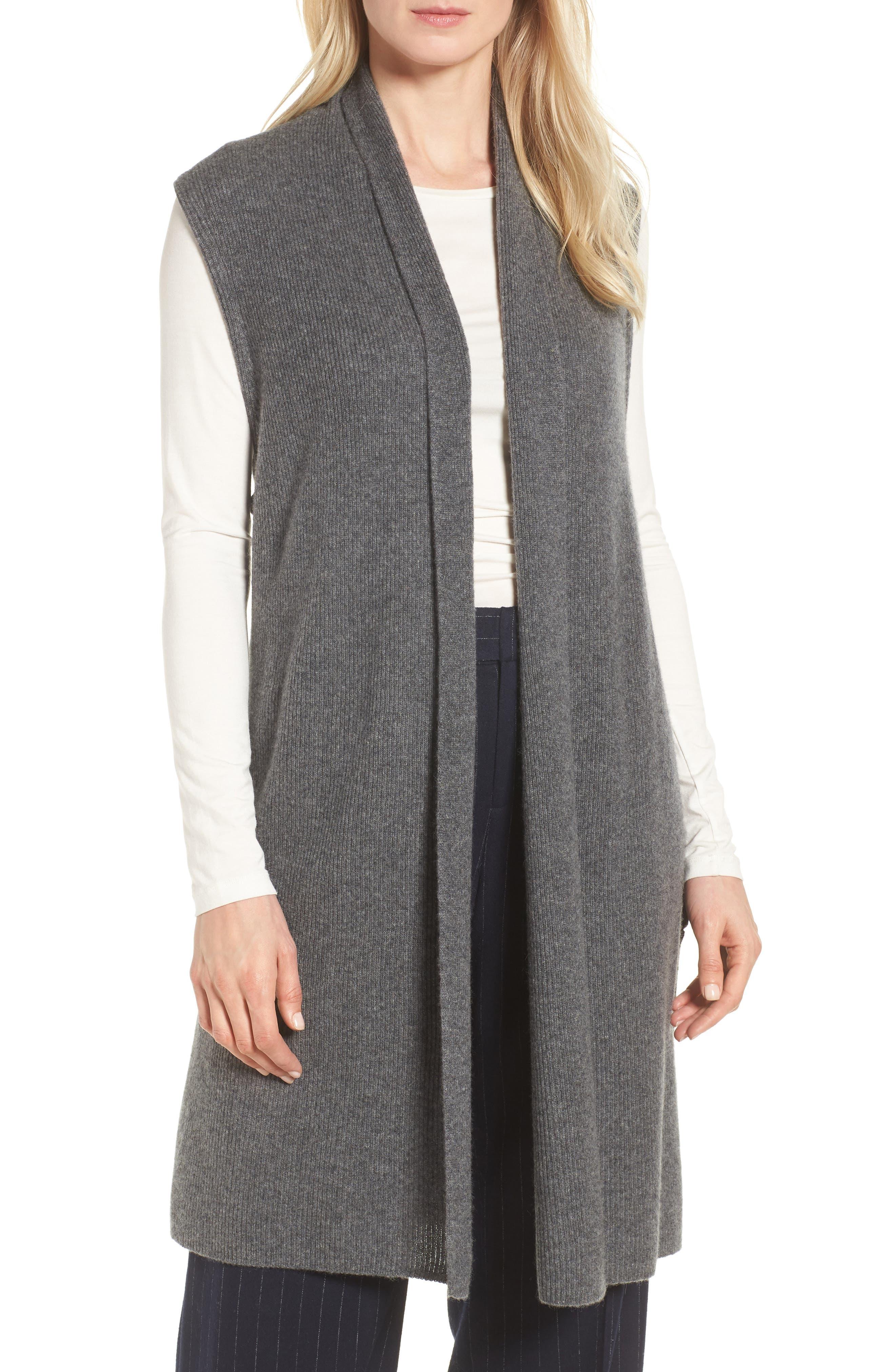 Ribbed Cashmere Vest,                         Main,                         color, Grey Dark Heather