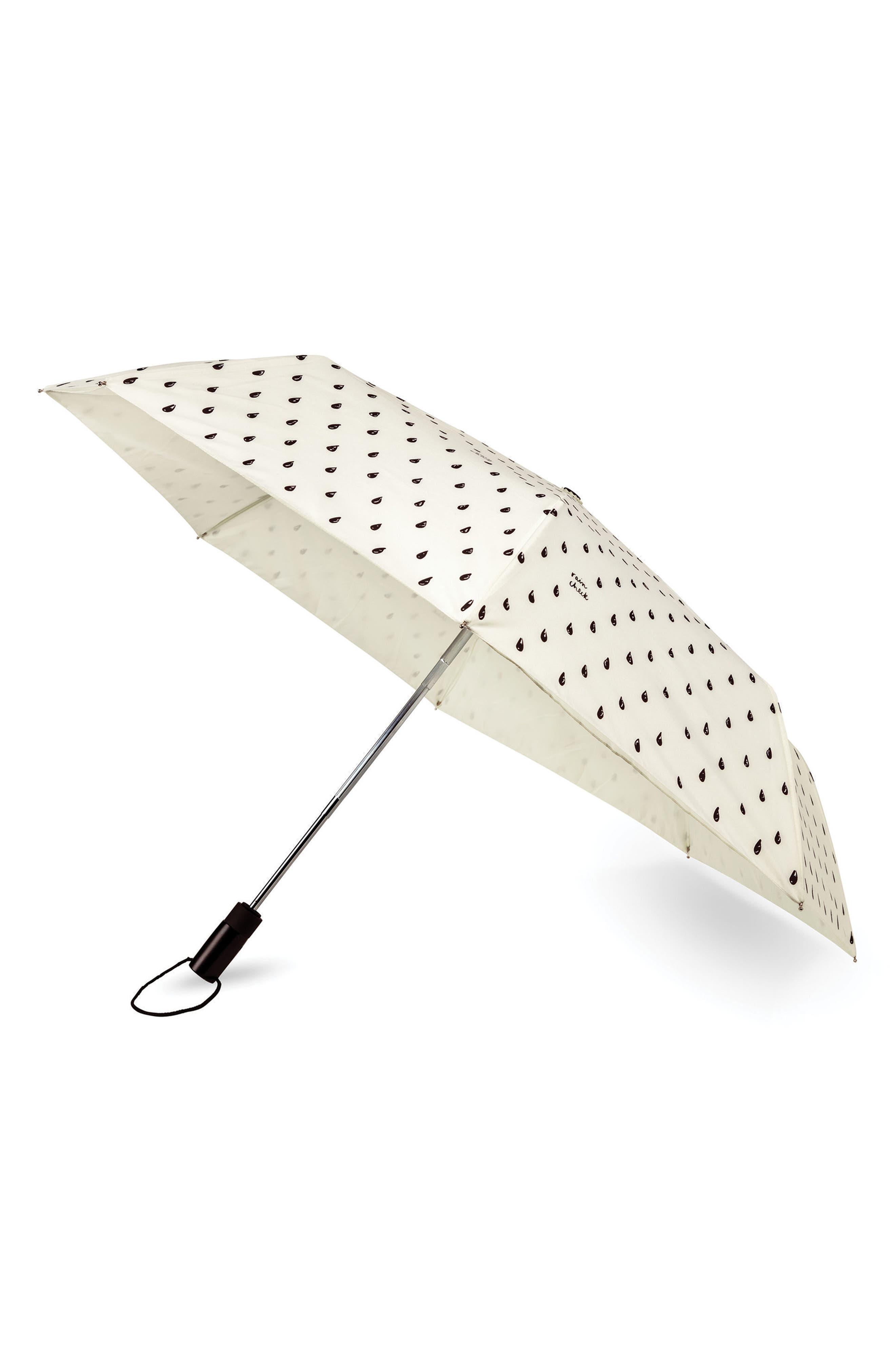 rain drop compact travel umbrella,                         Main,                         color, Cream