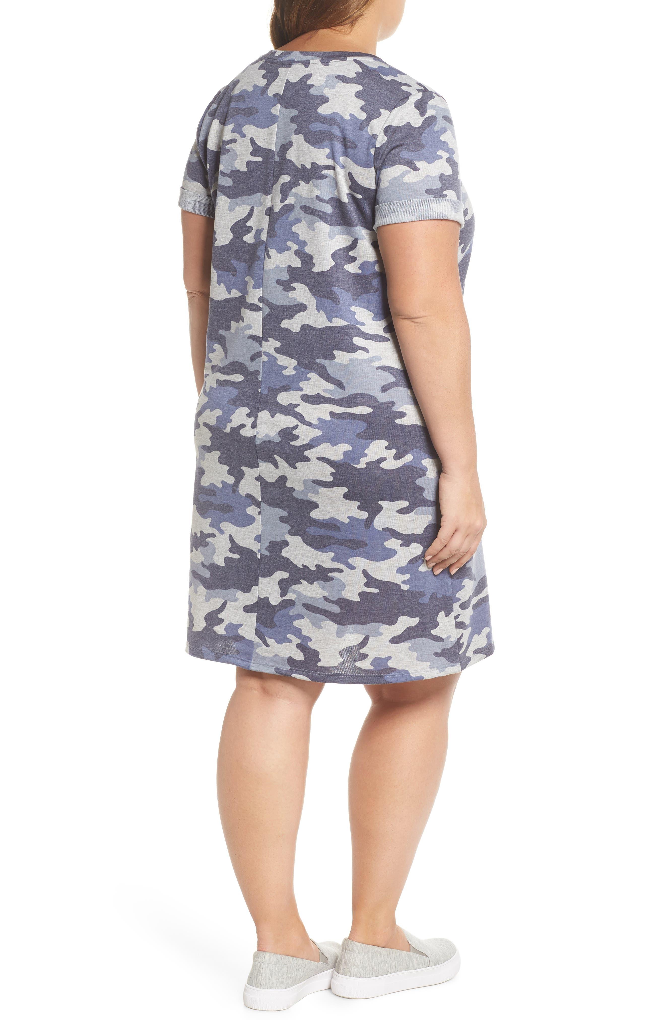 Camo T-Shirt Dress,                             Alternate thumbnail 2, color,                             Blue Camo