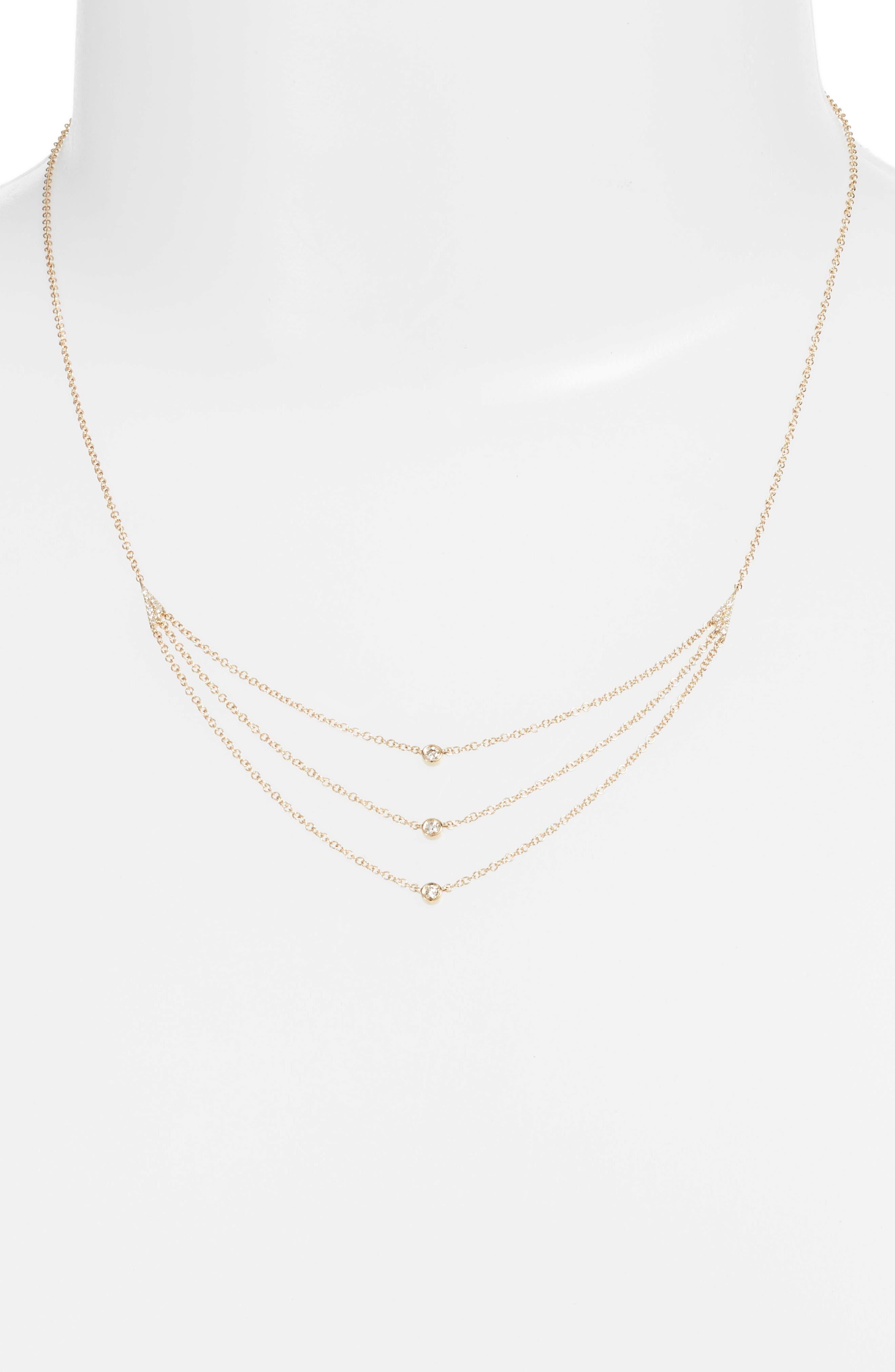 Diamond Triple Bezel Layered Necklace,                             Alternate thumbnail 2, color,                             Yellow Gold
