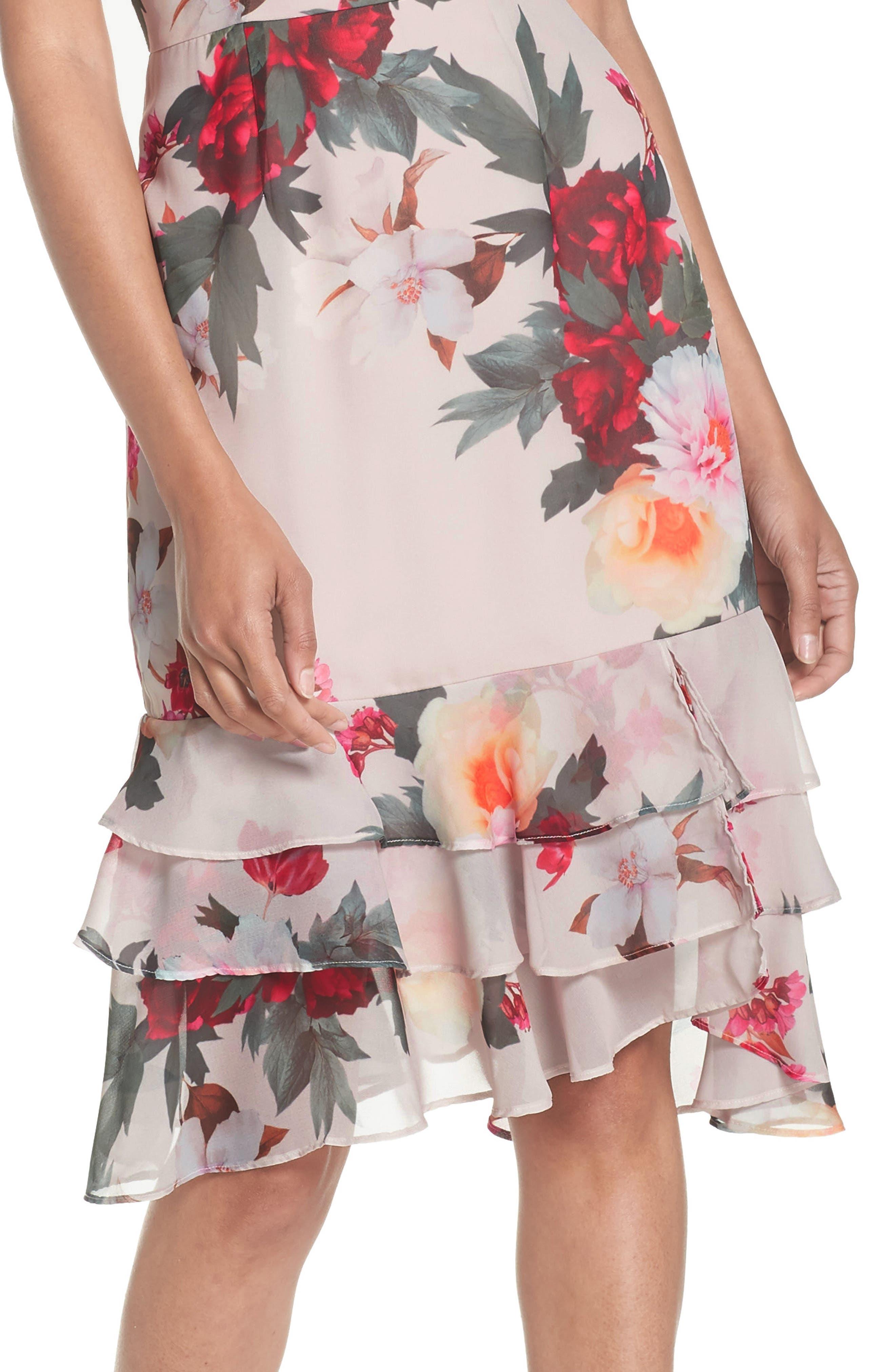 Rosa High Neck Ruffle Hem Dress,                             Alternate thumbnail 4, color,                             Print