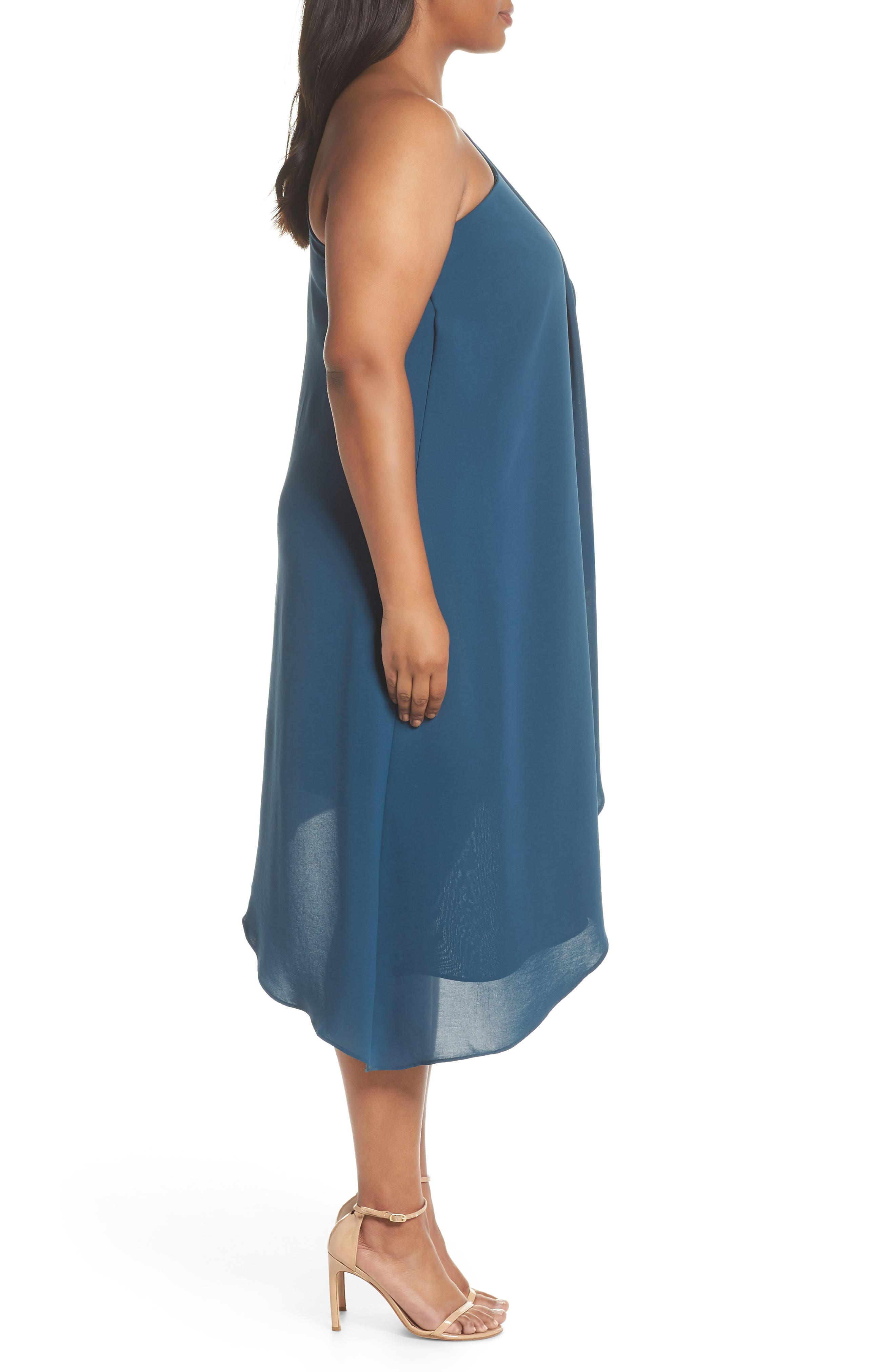 Gauzy One-Shoulder Crepe Dress,                             Alternate thumbnail 5, color,                             Midnight Jungle