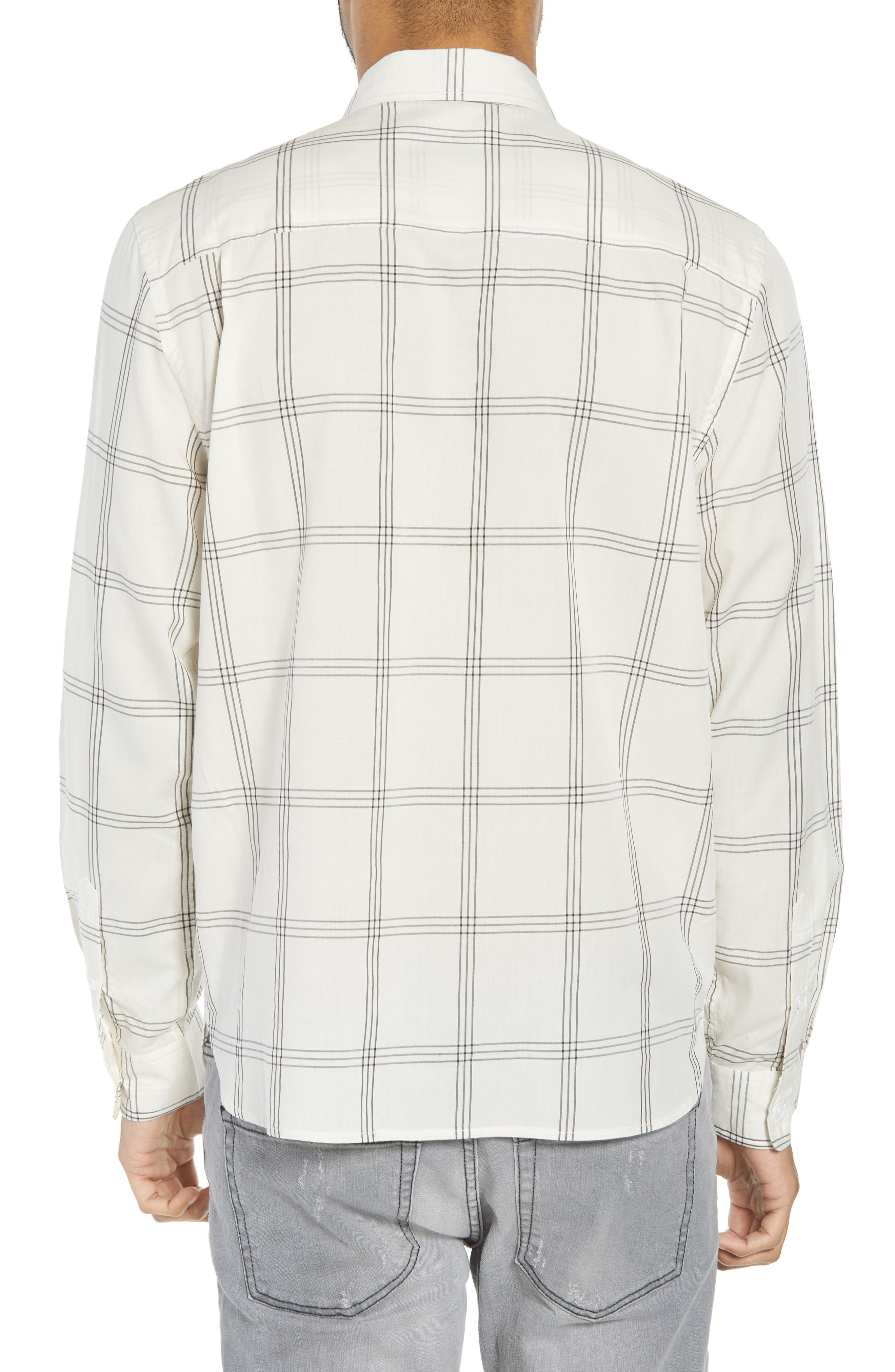 Mickey Windowpane Woven Shirt,                             Alternate thumbnail 3, color,                             White
