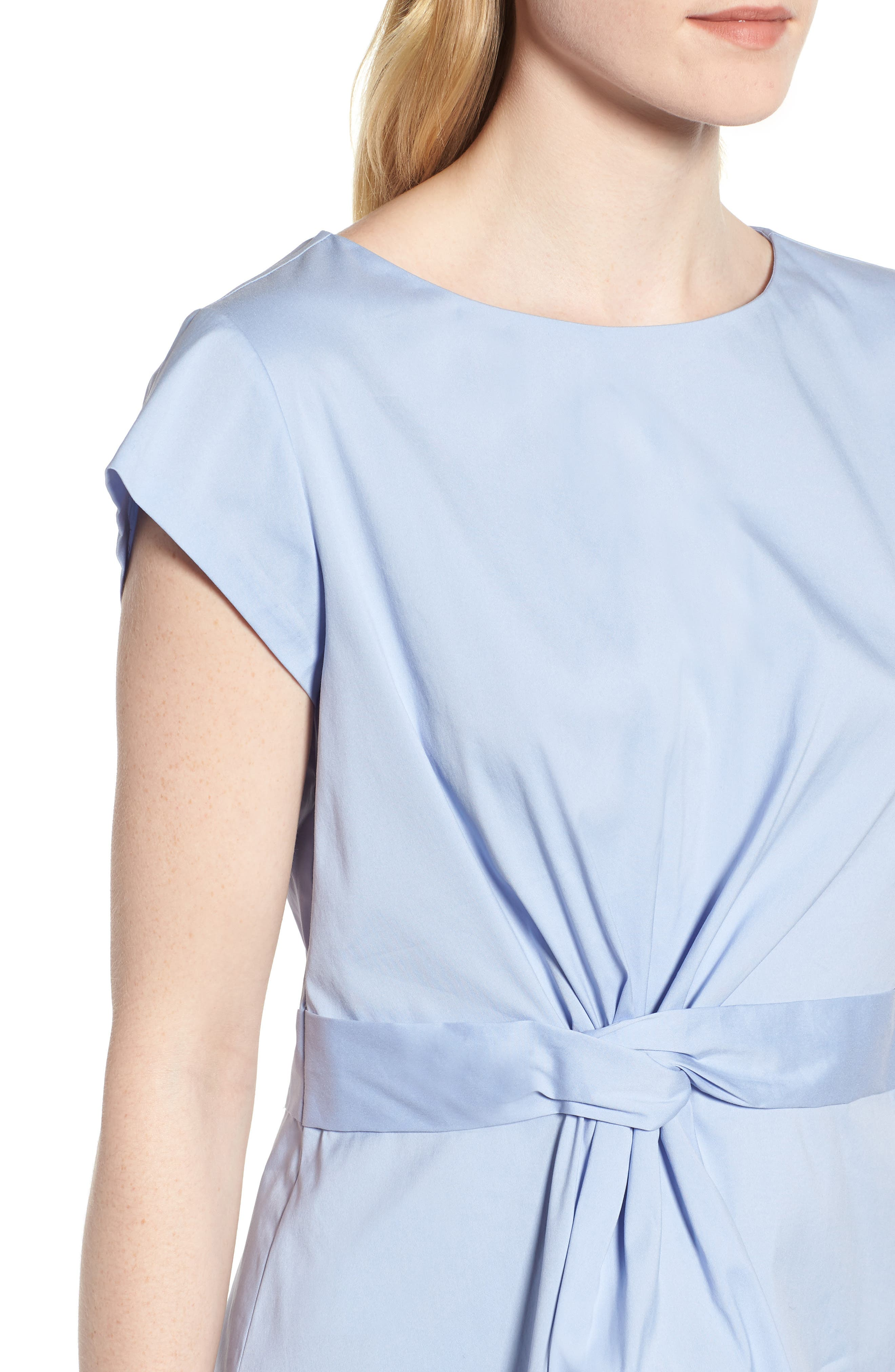 Knot Front Cotton Blend Poplin Blouse,                             Alternate thumbnail 4, color,                             Blue Stork