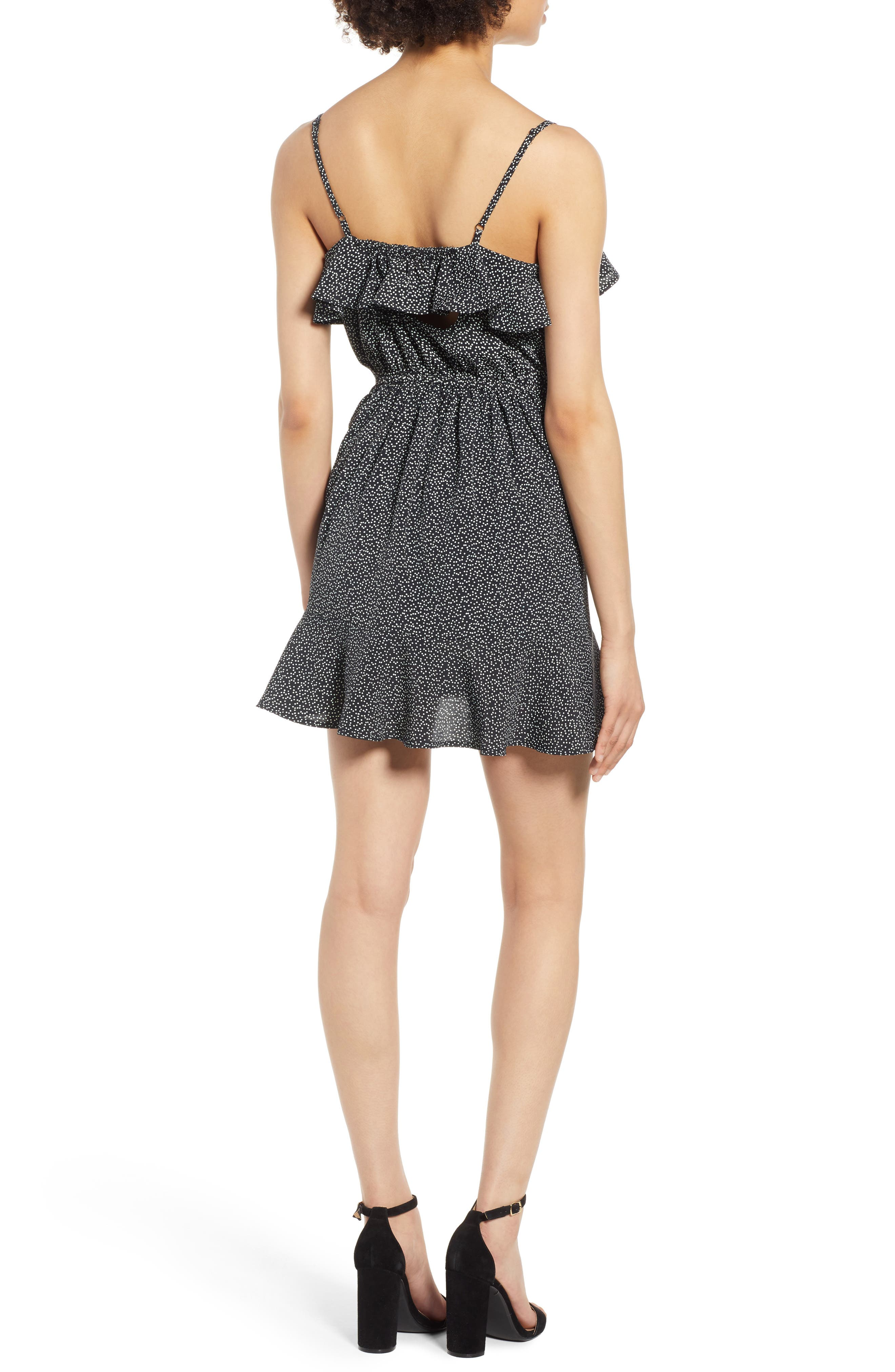 Button Front Frilly Dot Dress,                             Alternate thumbnail 2, color,                             Black Ground Polka Dot