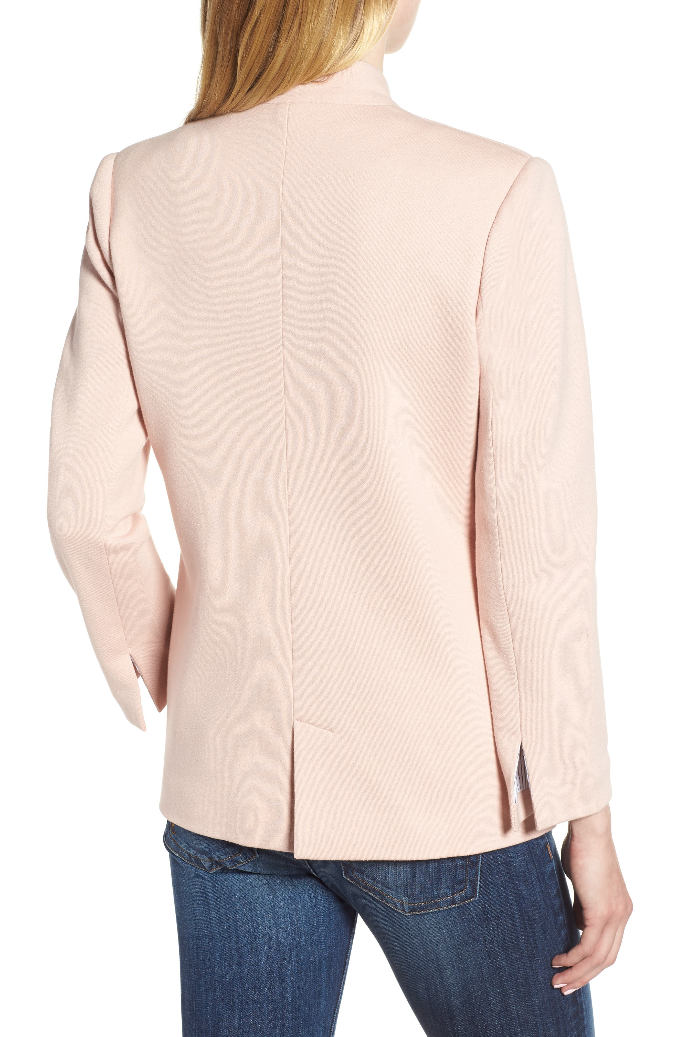 Cotton Blend Knit Blazer,                             Alternate thumbnail 2, color,                             Pink Smoke