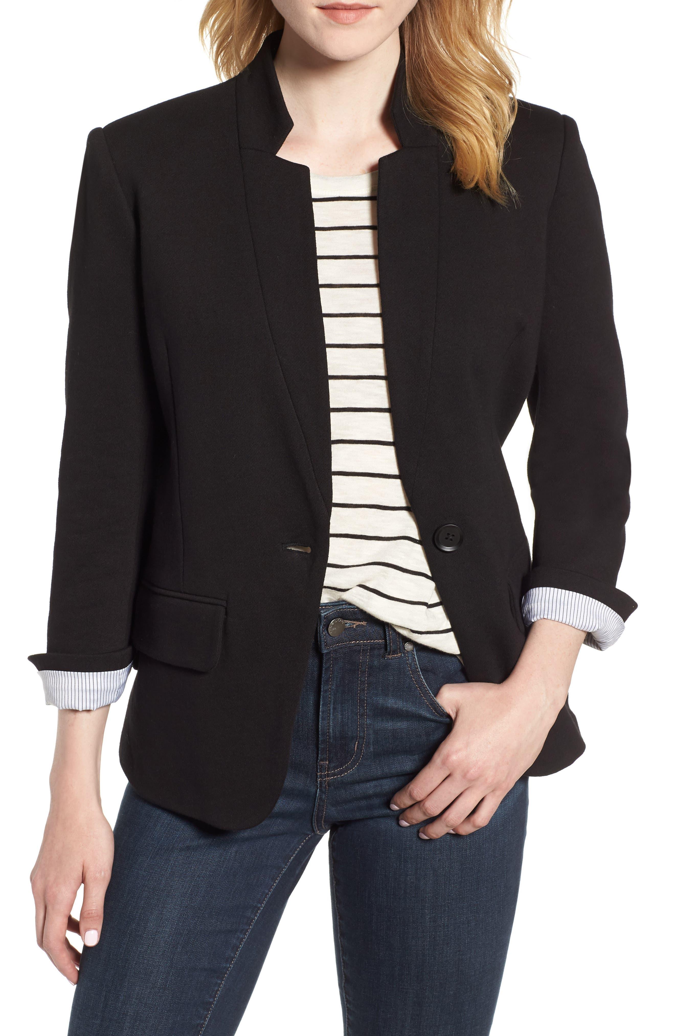 Cotton Blend Knit Blazer,                             Main thumbnail 1, color,                             Black