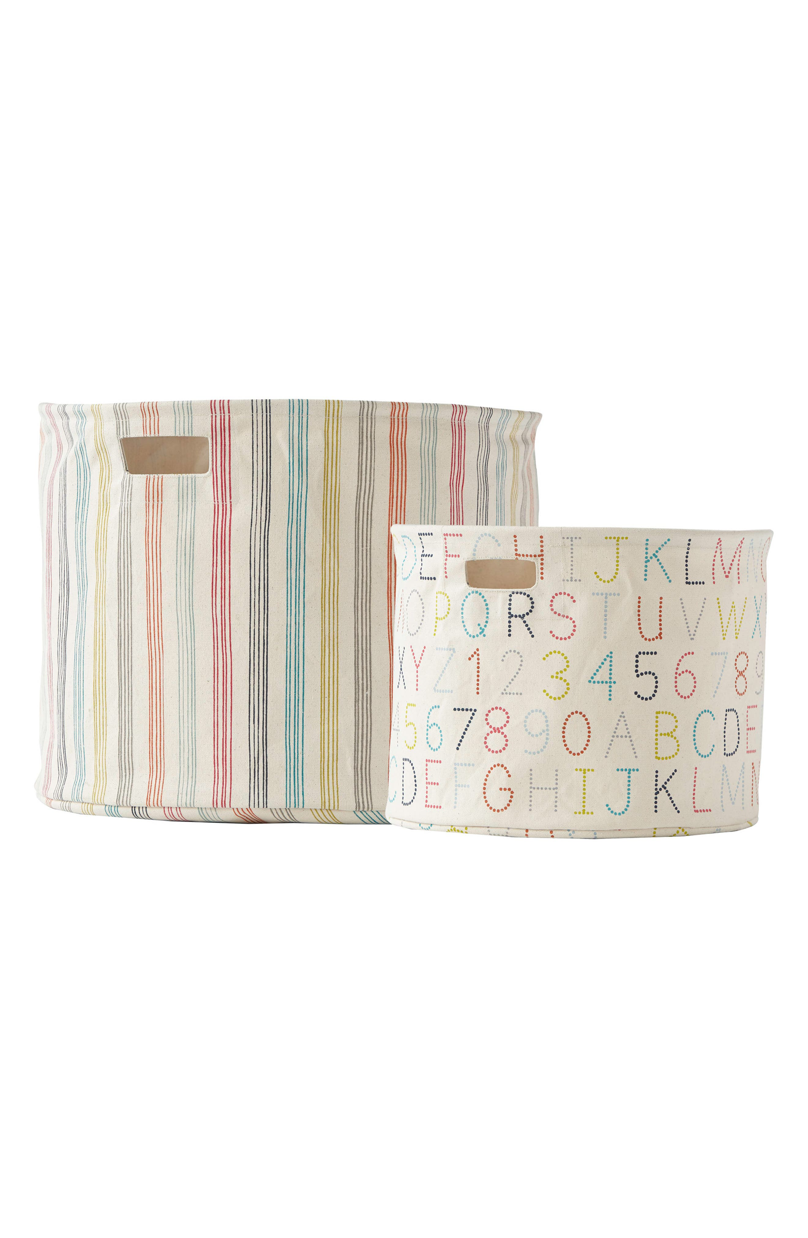 Set of 2 Canvas Bins,                         Main,                         color, Ivory Multi