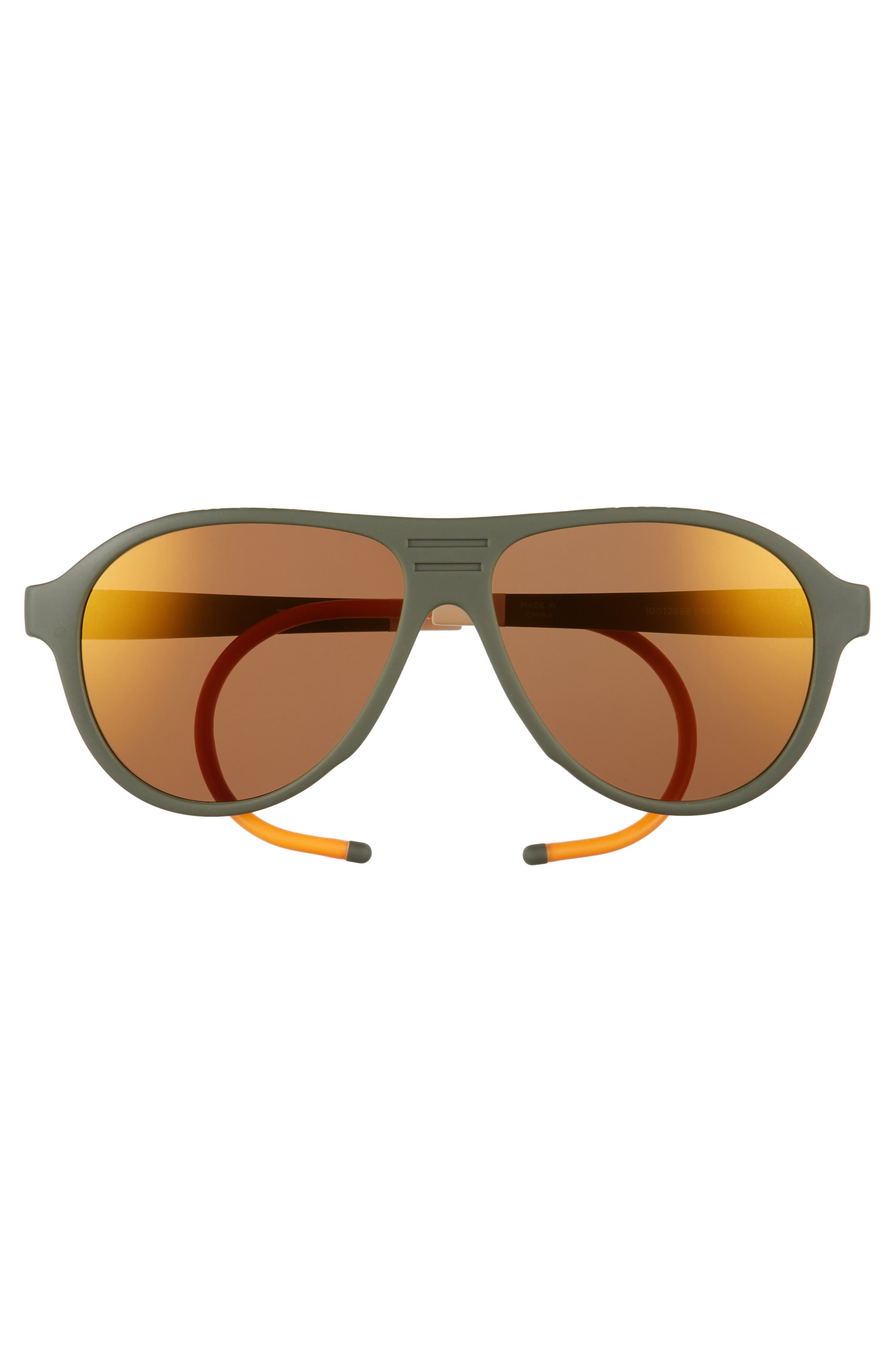 Traveler Zion 57mm Aviator Sunglasses,                             Alternate thumbnail 2, color,                             Matte Rifle Green/ Gold Mirror
