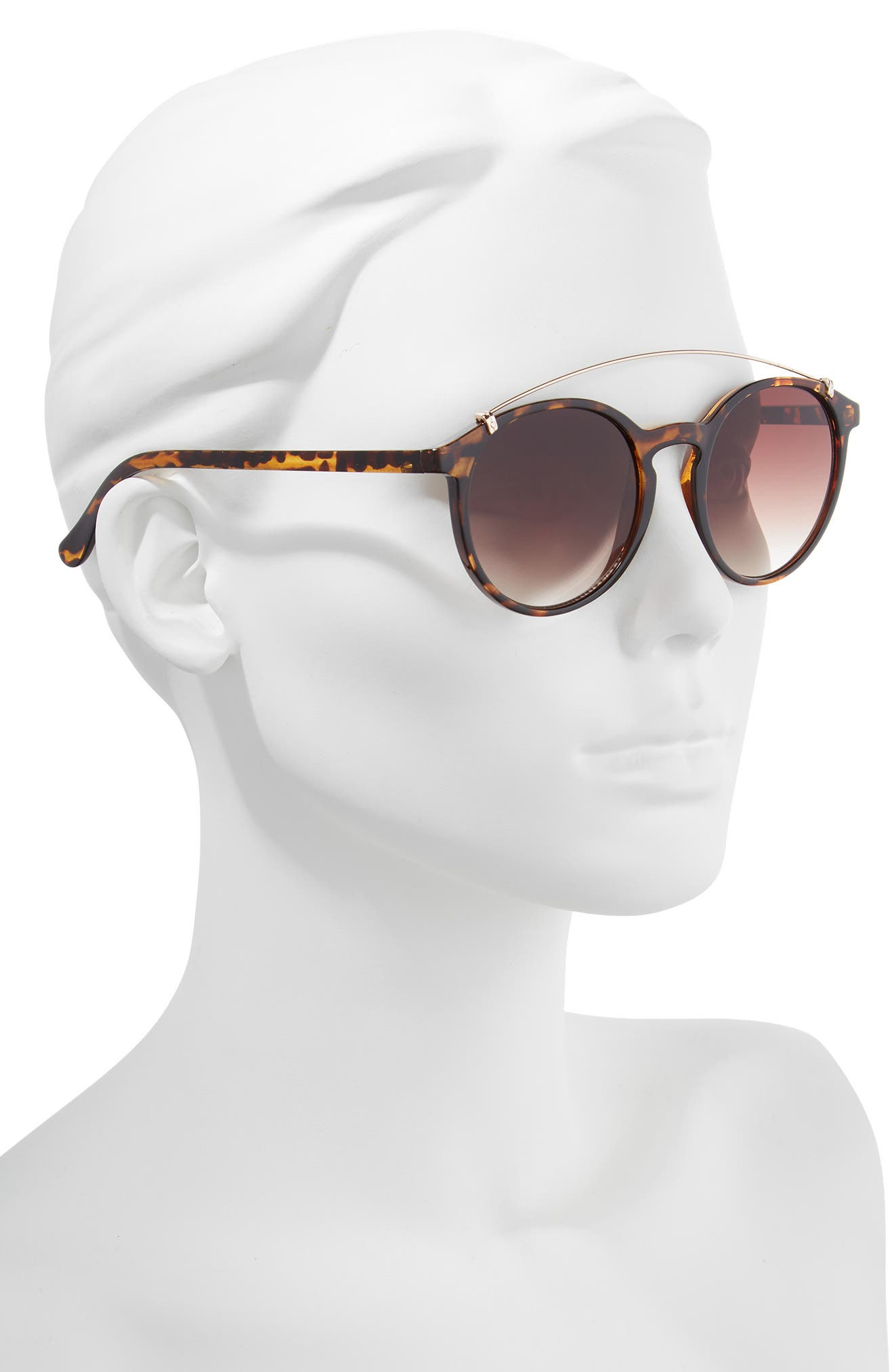 Round Aviator Sunglasses,                             Alternate thumbnail 2, color,                             Tort/ Brown