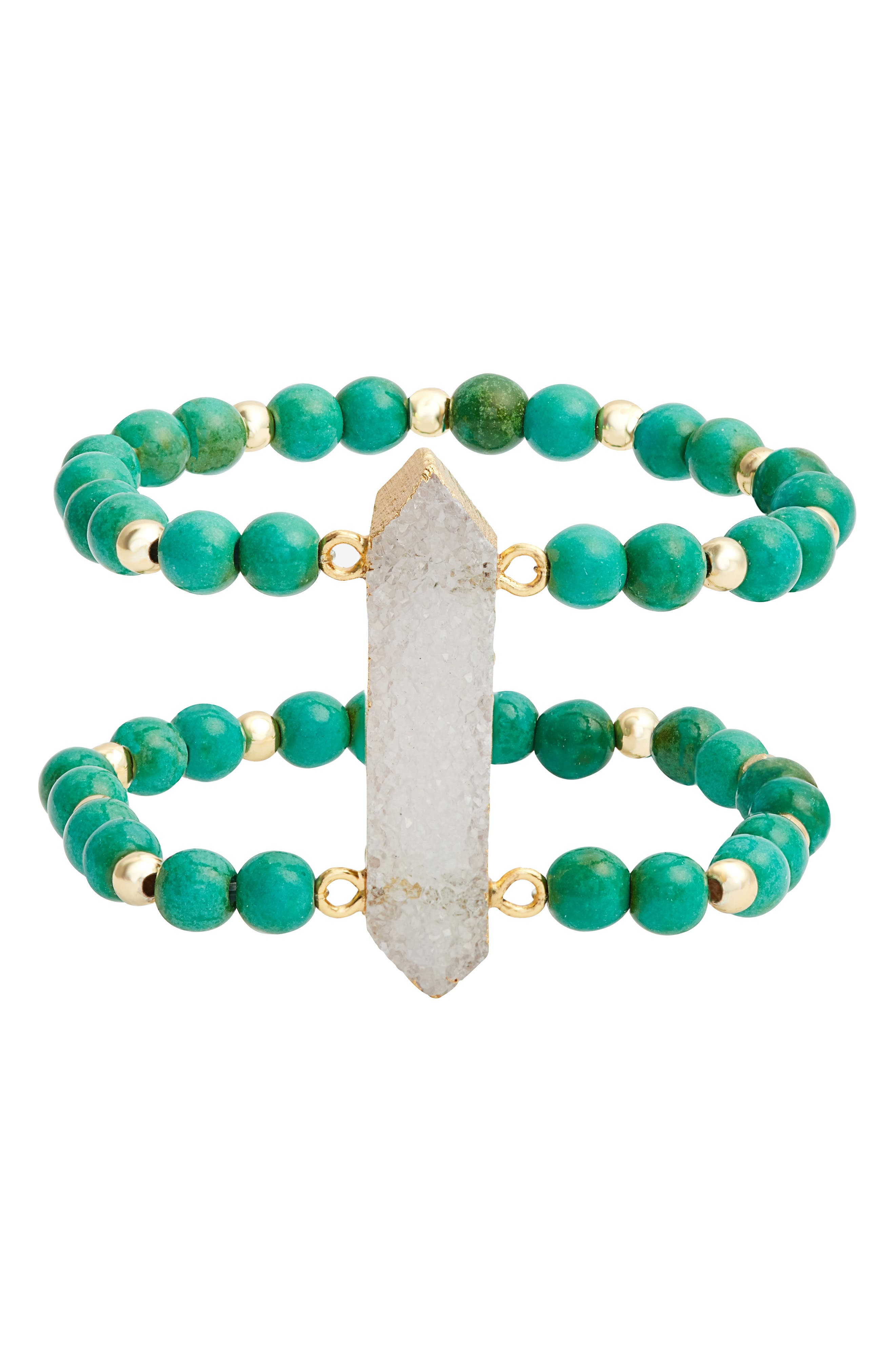 ELISE M. Candice Double Stretch Bracelet in Green/ Turquoise