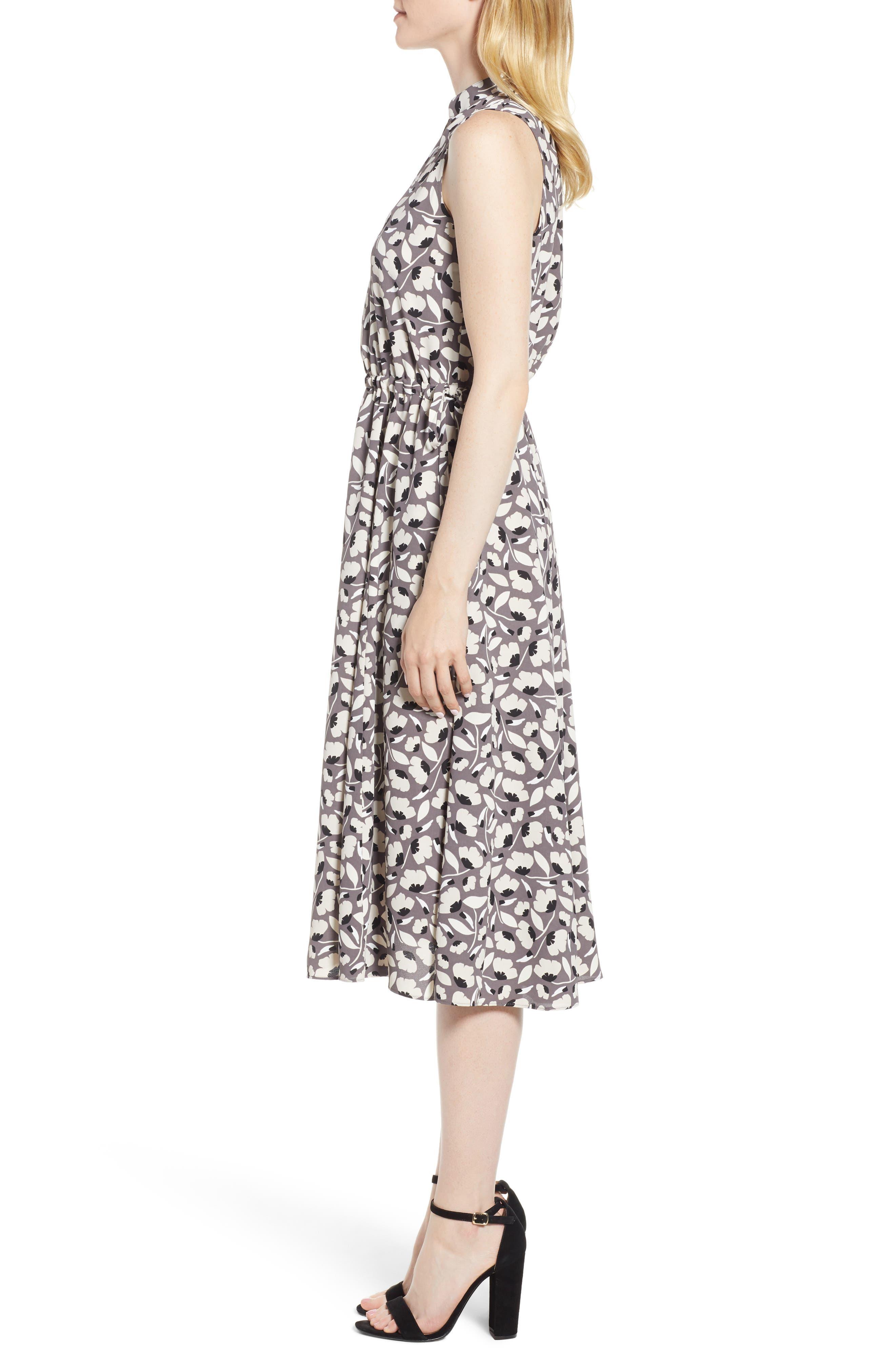 Floral Drawstring Dress,                             Alternate thumbnail 3, color,                             Nantucket Grey/ Oyster Shell