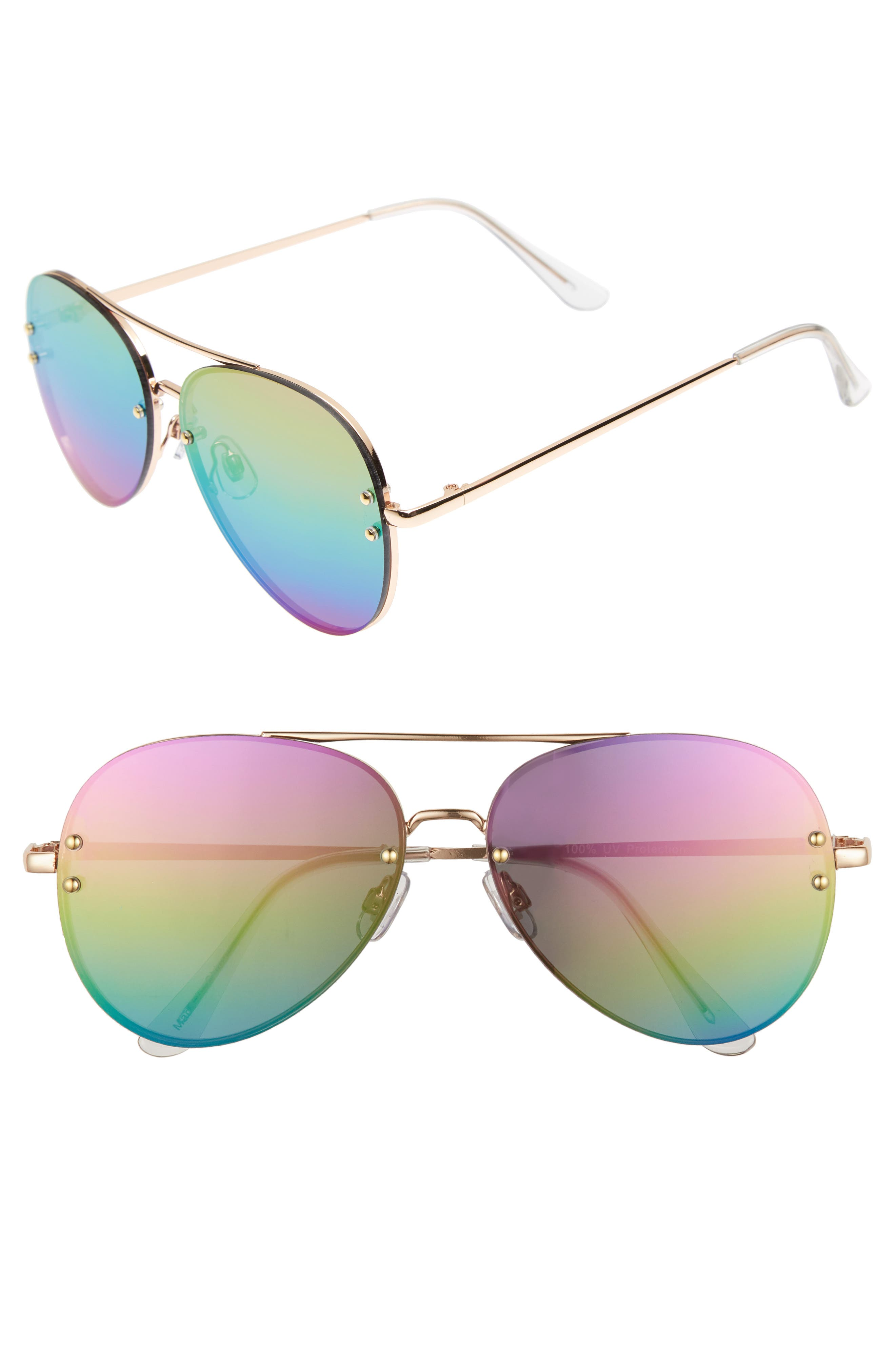 60mm Oversize Mirrored Aviator Sunglasses,                         Main,                         color, Gold/Rainbow
