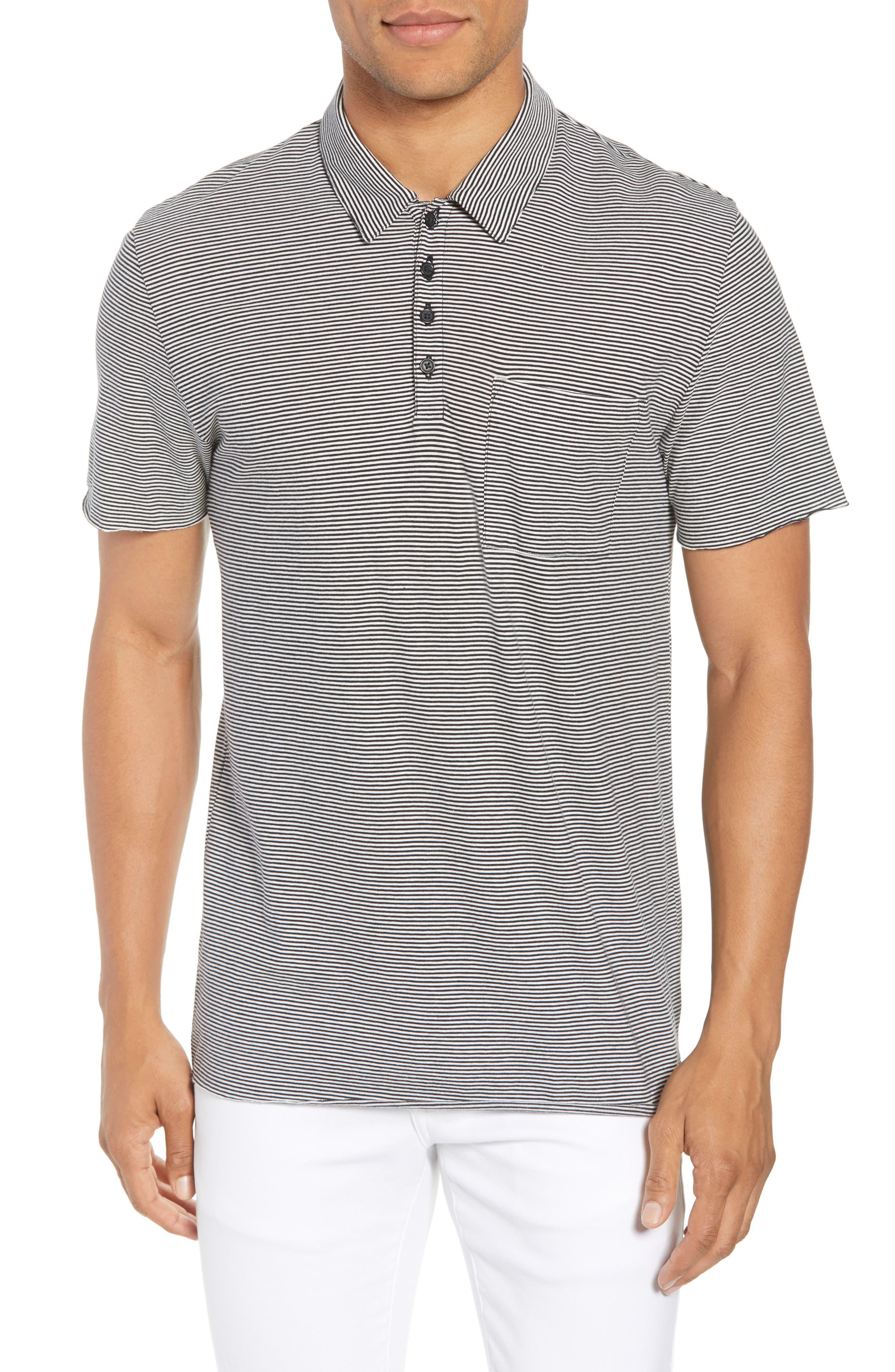 Slim Fit Stripe Polo Shirt,                         Main,                         color, Black/ Leche
