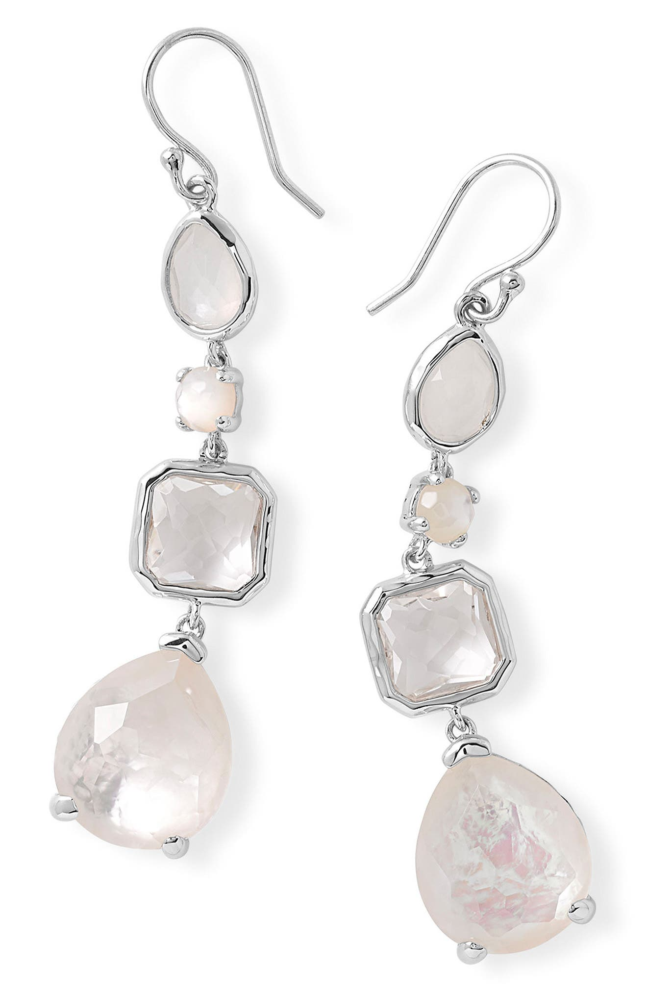 'Rock Candy' Semiprecious Stone Linear Drop Earrings,                             Alternate thumbnail 3, color,                             Silver/ Flirt