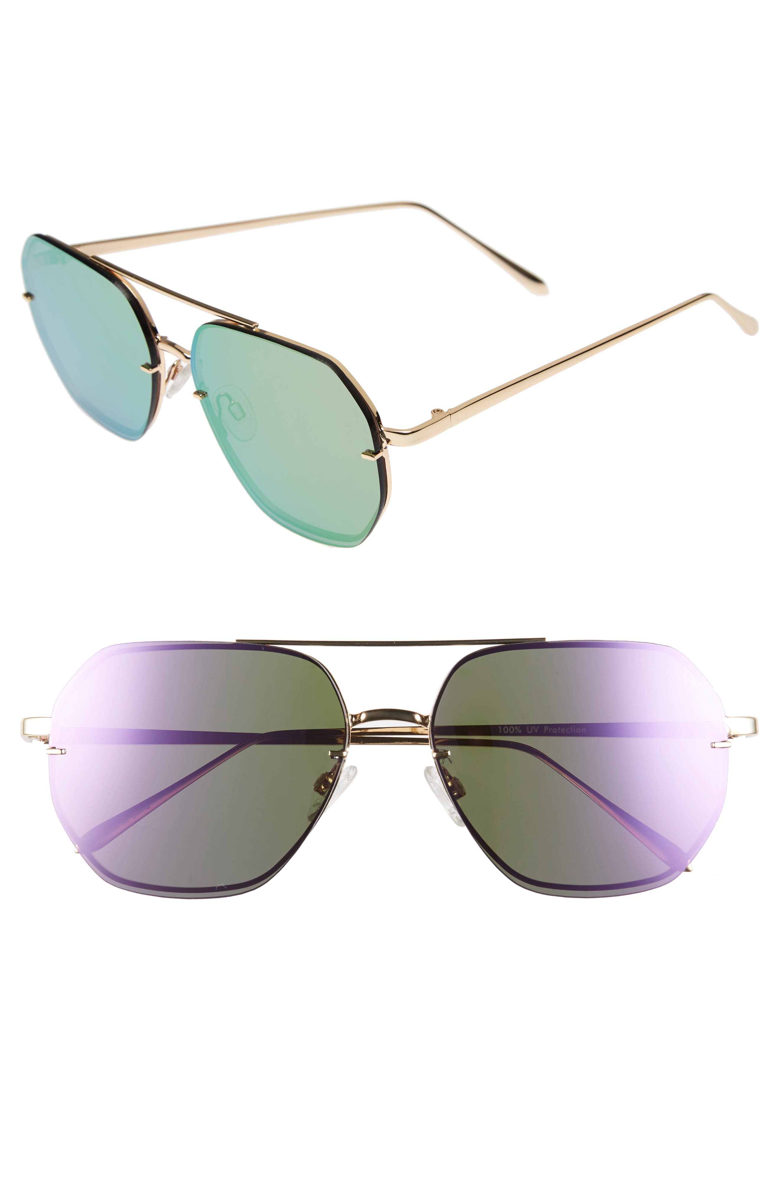 Leith 62mm Metal Flat Geo Aviator Sunglasses