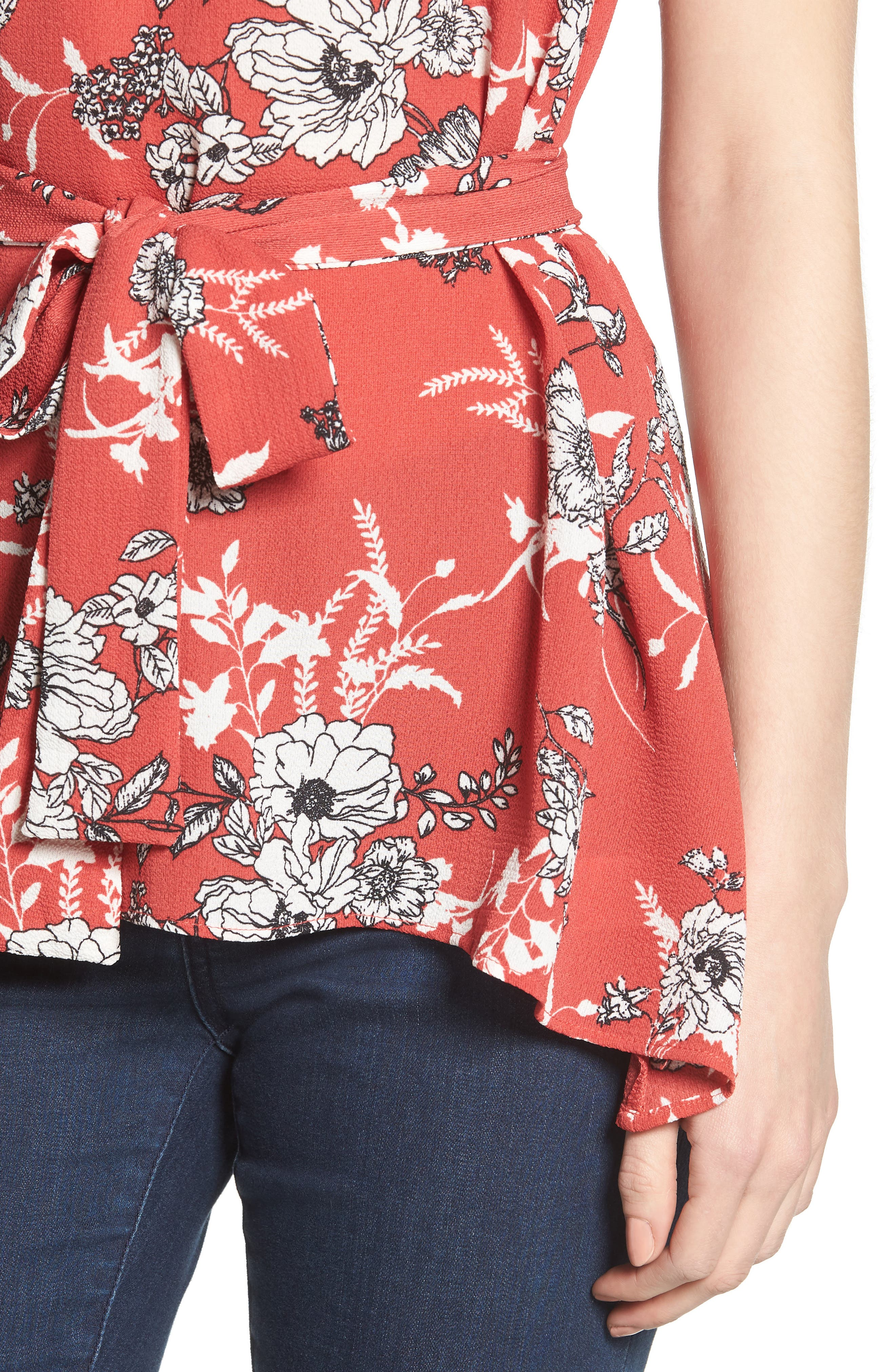 Asymmetrical Tie Front Stretch Crepe Blouse,                             Alternate thumbnail 4, color,                             Red/ White Floral