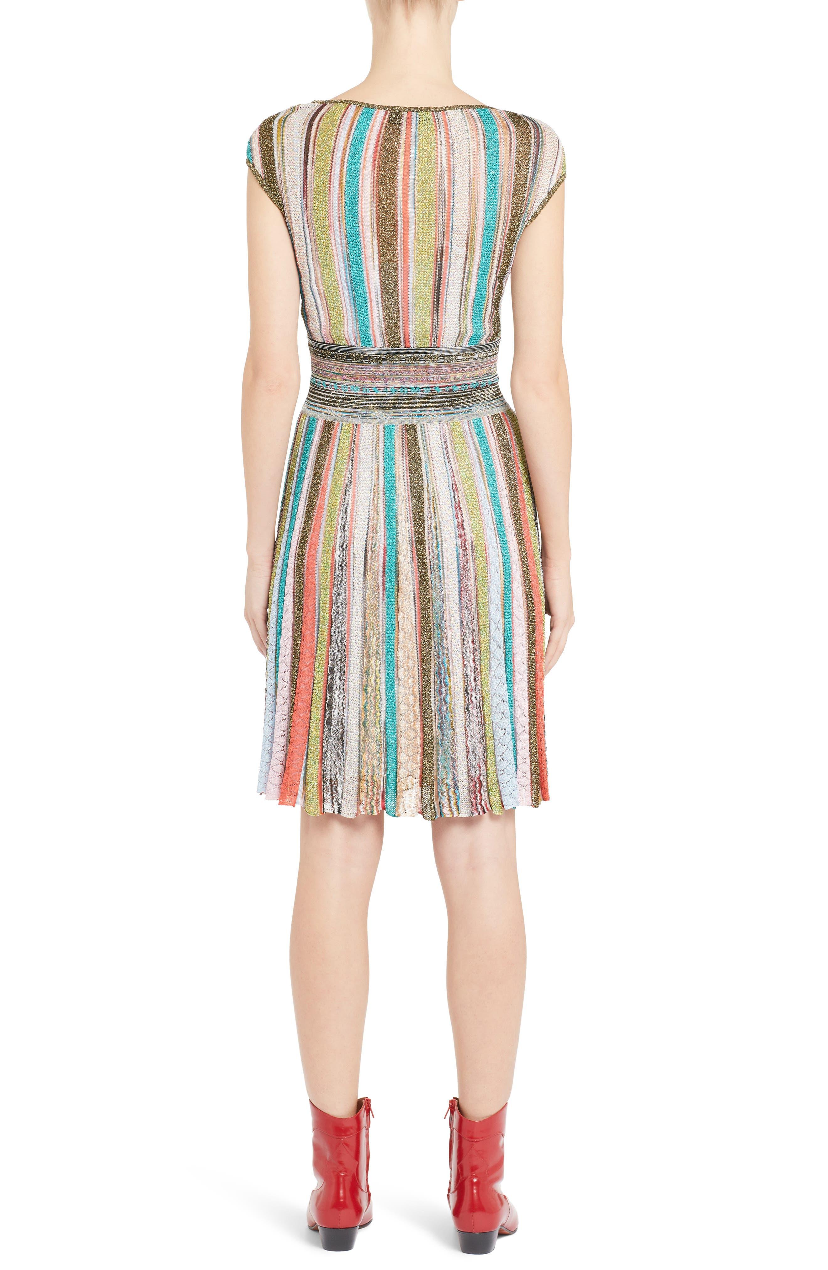 Metallic Stripe Dress,                             Alternate thumbnail 2, color,                             Multi