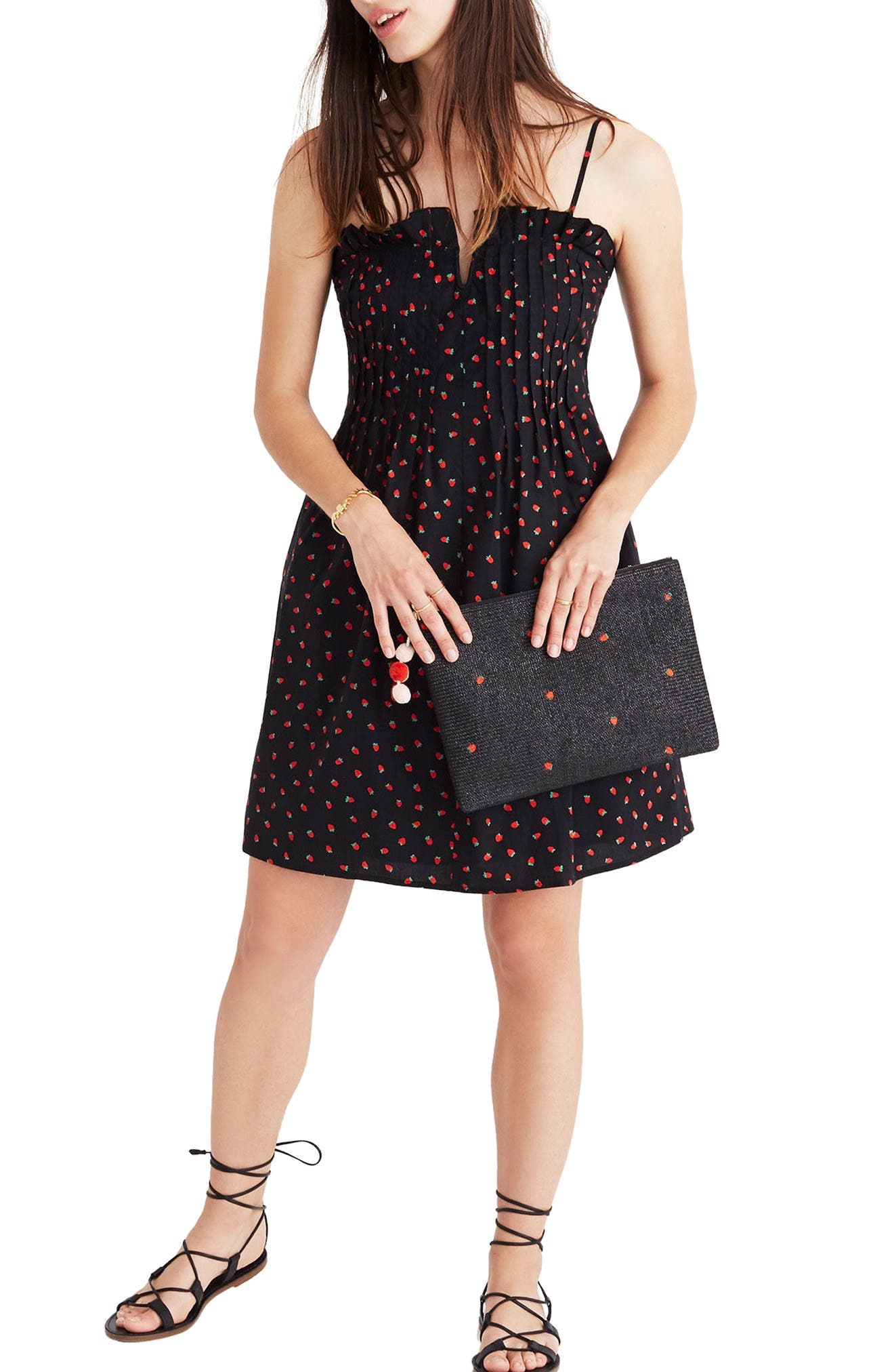 Strawberry Print Pintuck Ruffle Dress,                             Main thumbnail 1, color,                             Strawberries True Black