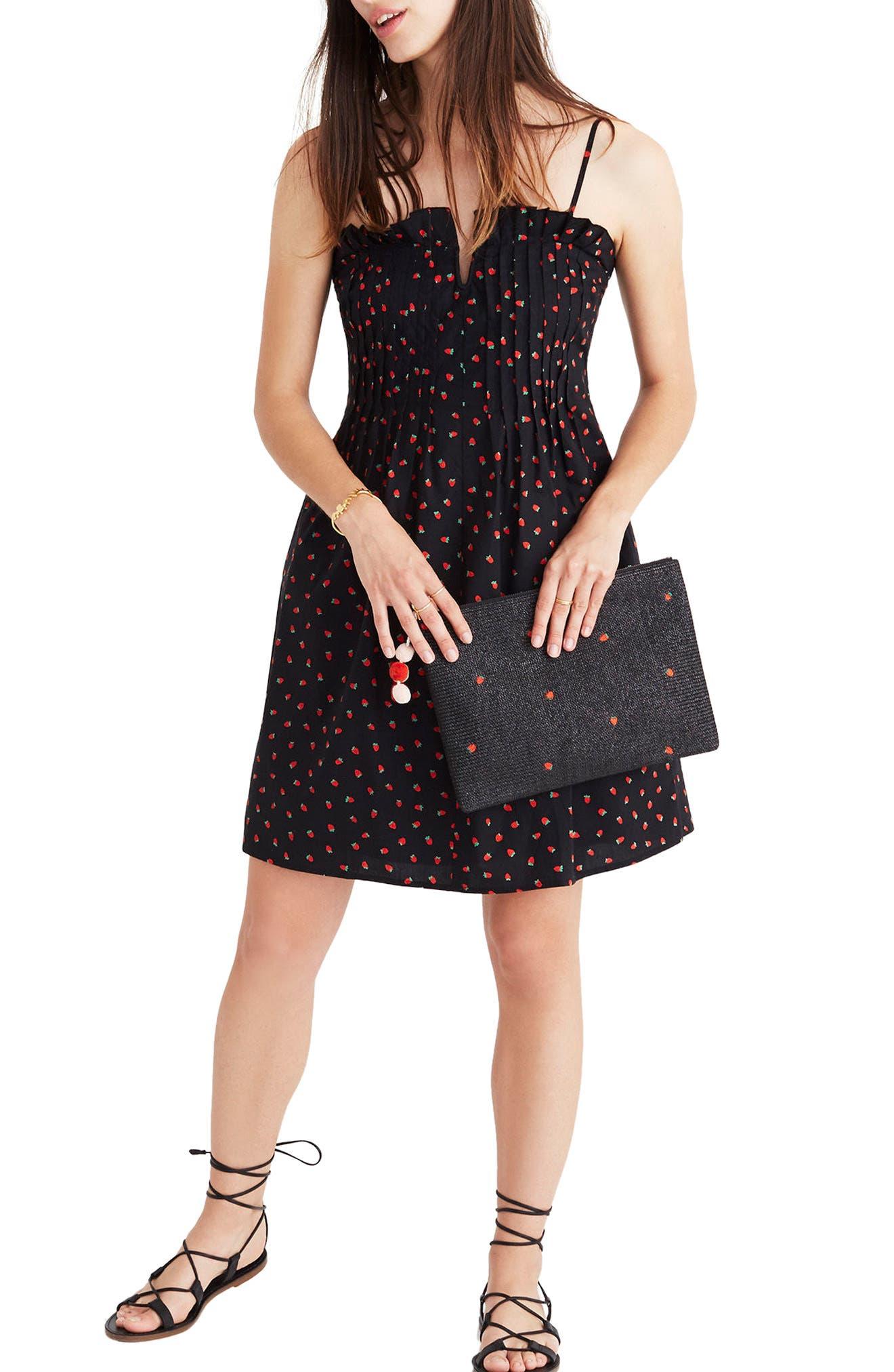 Strawberry Print Pintuck Ruffle Dress,                         Main,                         color, Strawberries True Black