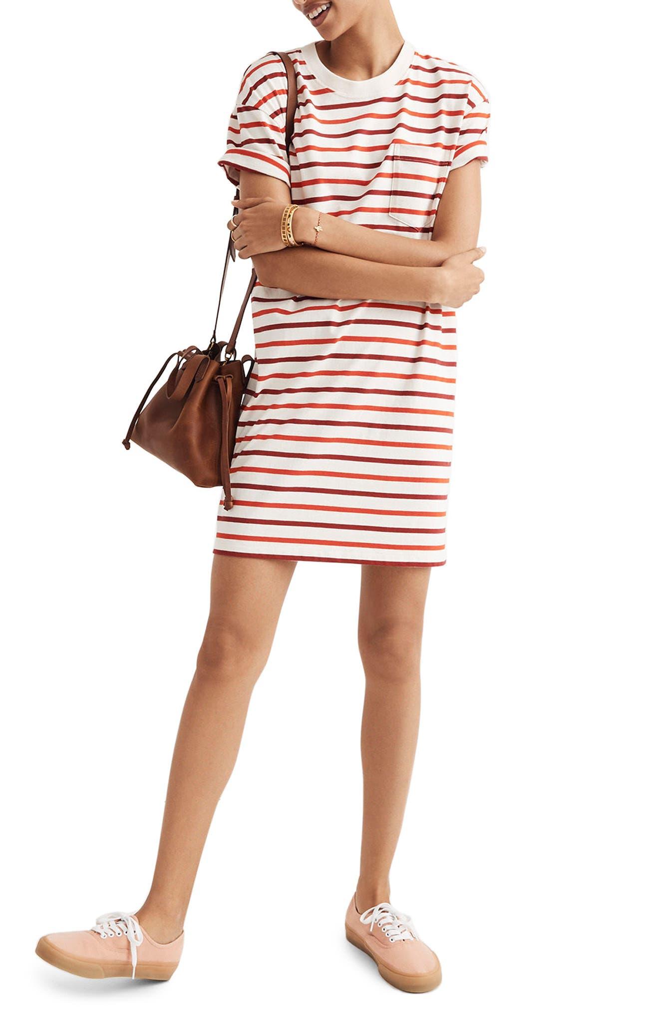 Stripe Pocket T-Shirt Dress,                         Main,                         color, Ripe Persimmon