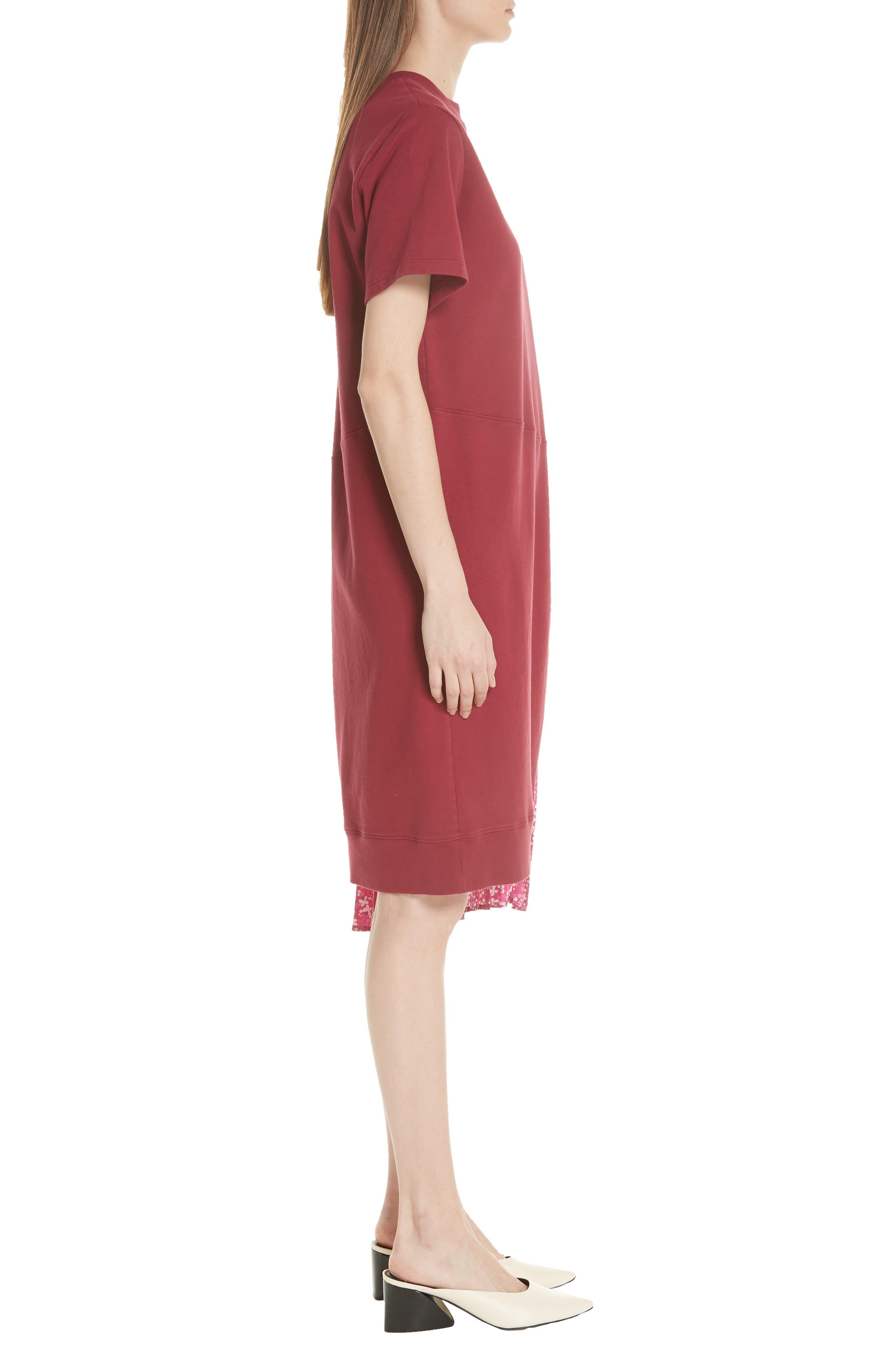 Floral Side Pleat Dress,                             Alternate thumbnail 5, color,                             Carmine