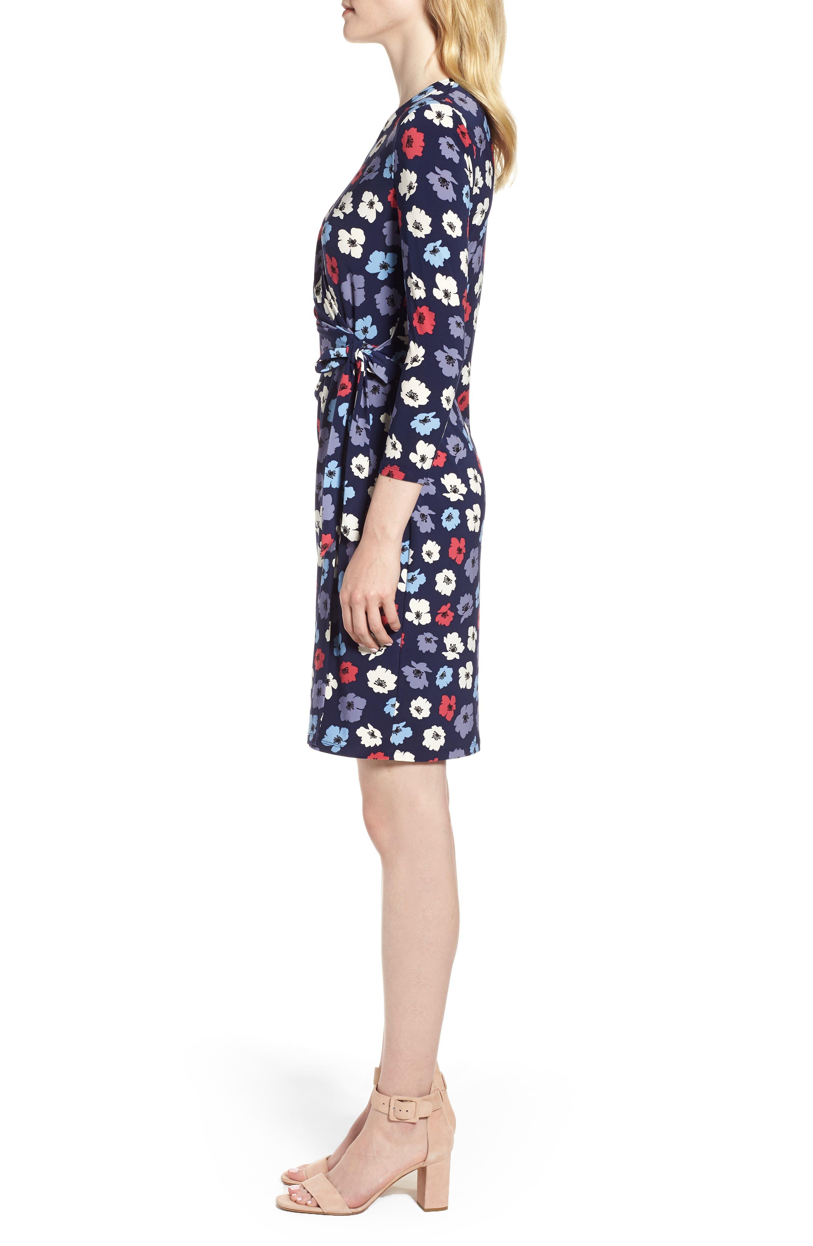 Floral Faux Wrap Dress,                             Alternate thumbnail 3, color,                             Eclipse/ Breton Red Combo