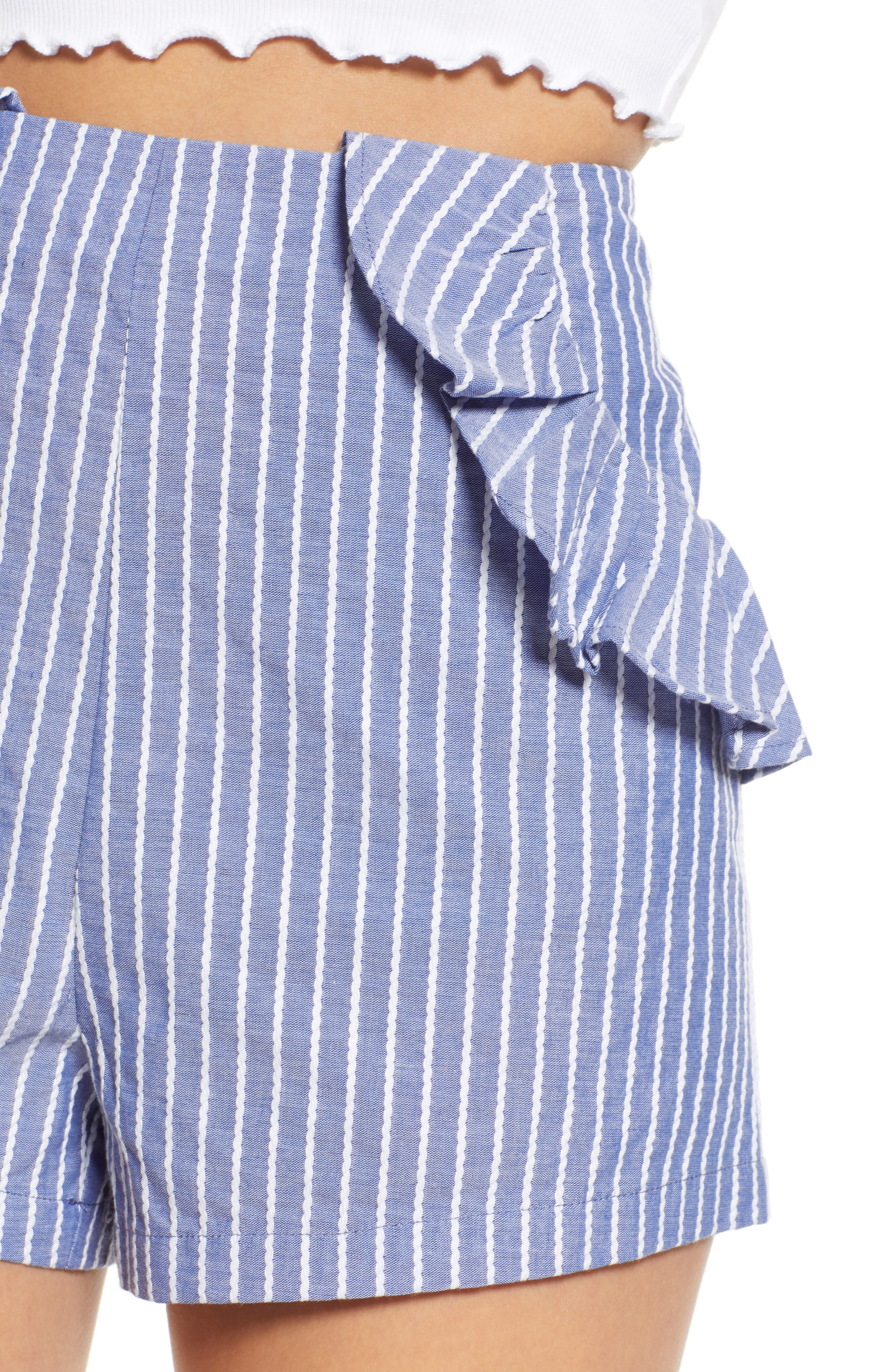 Parcel Ruffle Detail Shorts,                             Alternate thumbnail 4, color,                             Blue With White