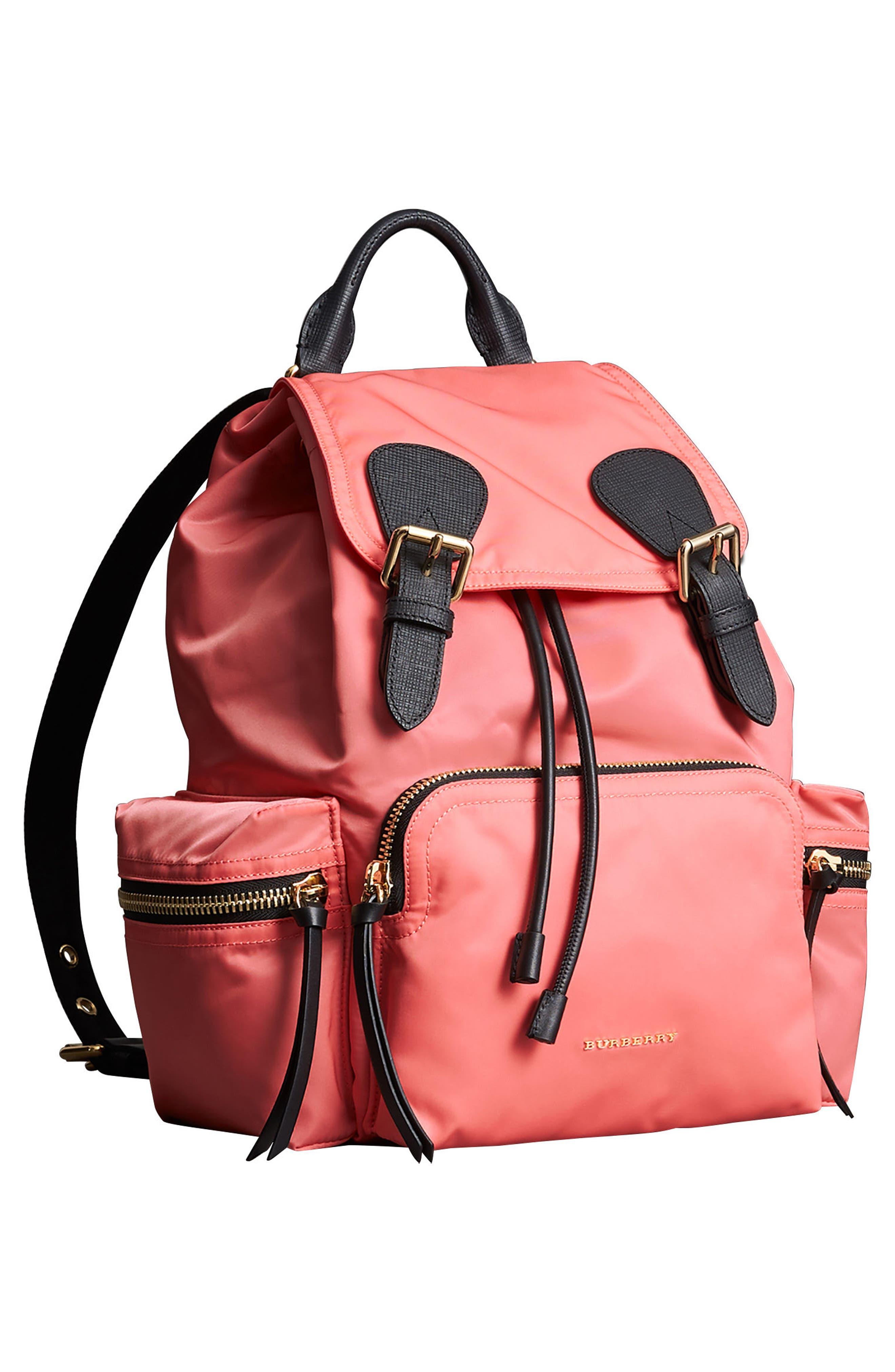 Medium Rucksack Nylon Backpack,                             Alternate thumbnail 3, color,                             Bright Coral Pink