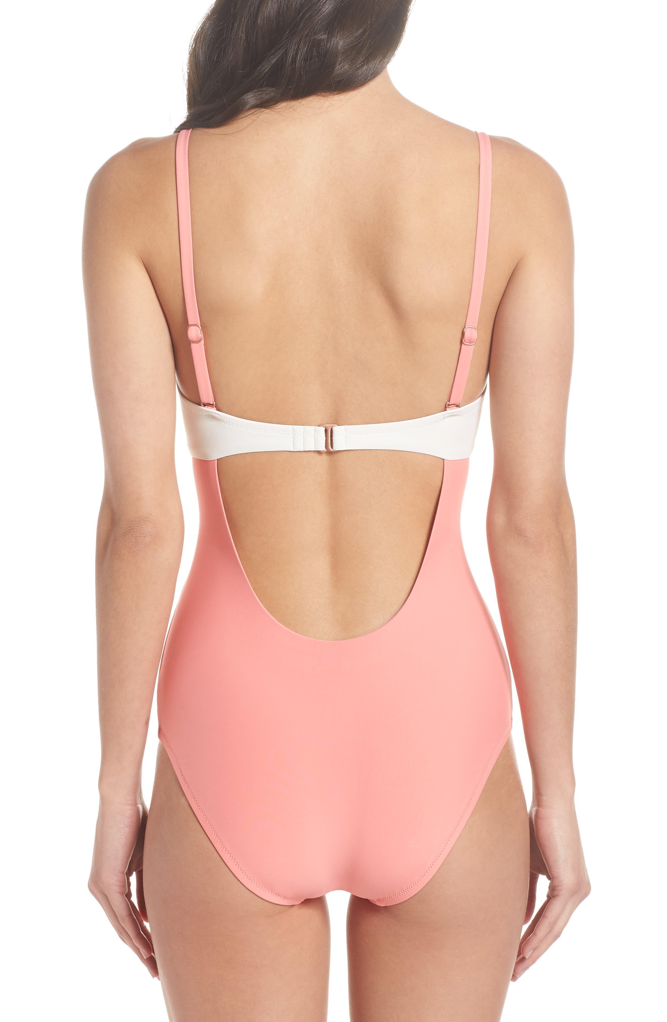 Scallop Bandeau One-Piece Swimsuit,                             Alternate thumbnail 6, color,                             Coral Shell / Ivory Egret
