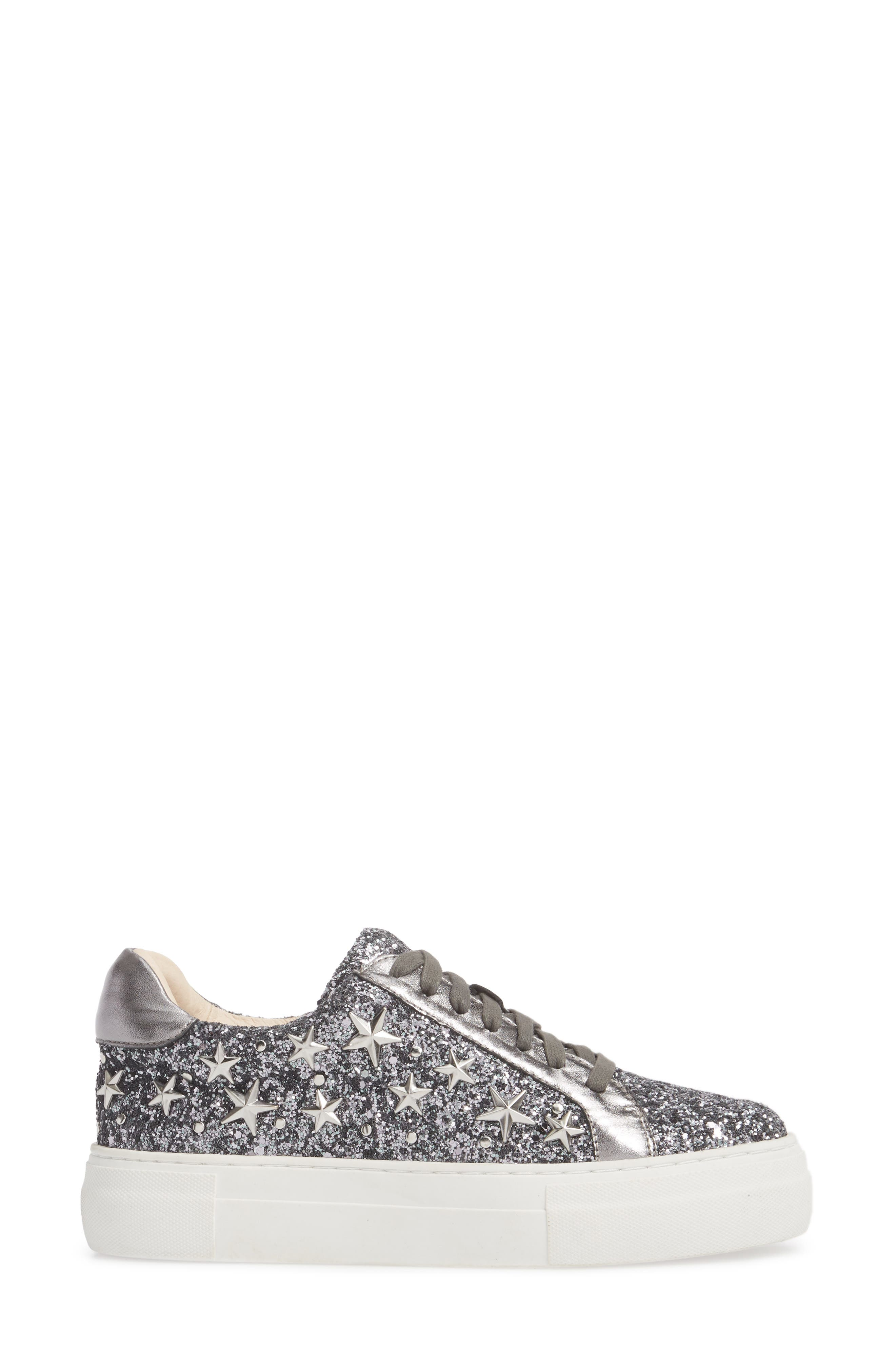 Active Star Platform Sneaker,                             Alternate thumbnail 3, color,                             Pewter Glitter