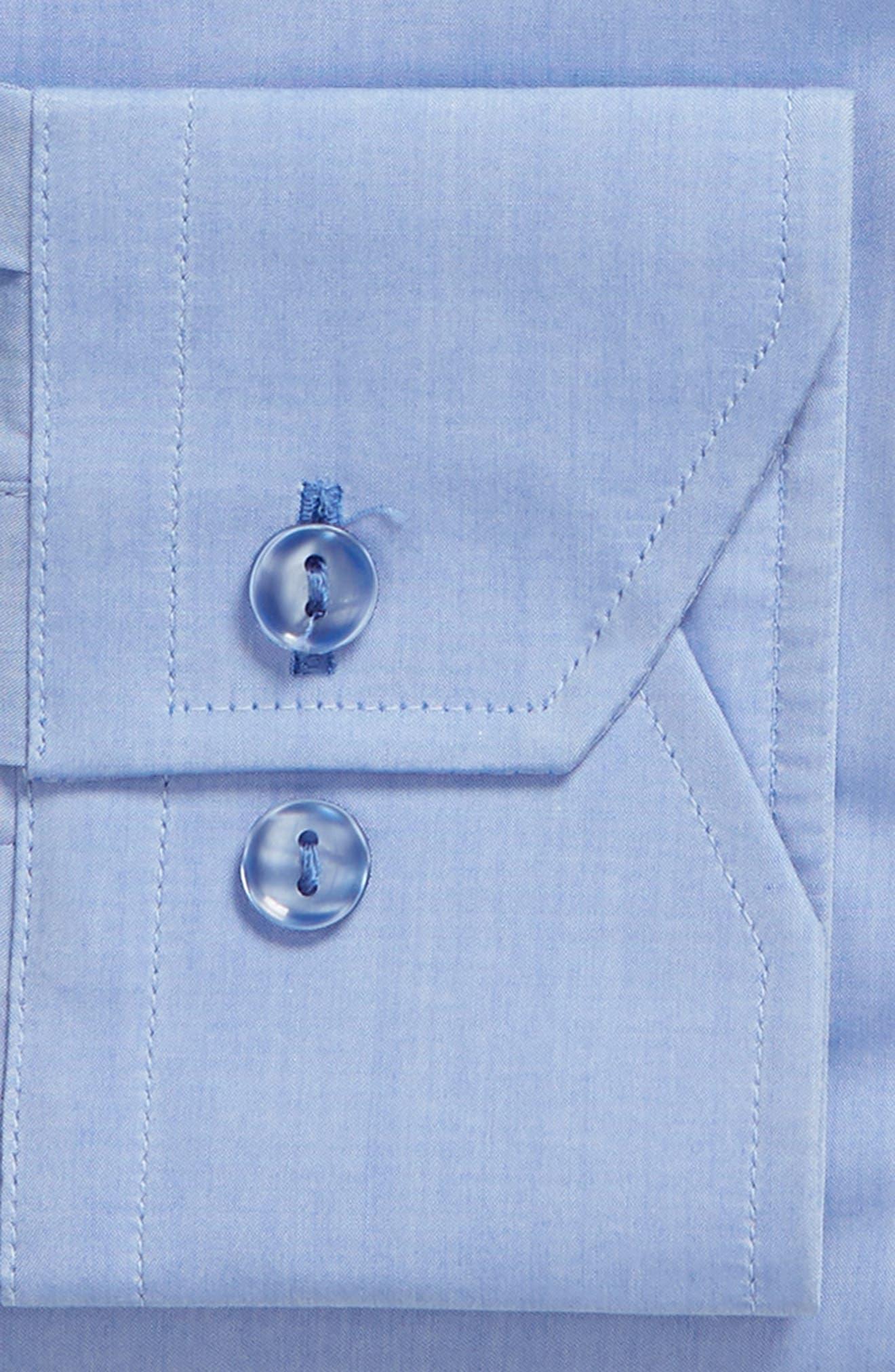 Trim Fit Solid Dress Shirt,                             Alternate thumbnail 5, color,                             Blue