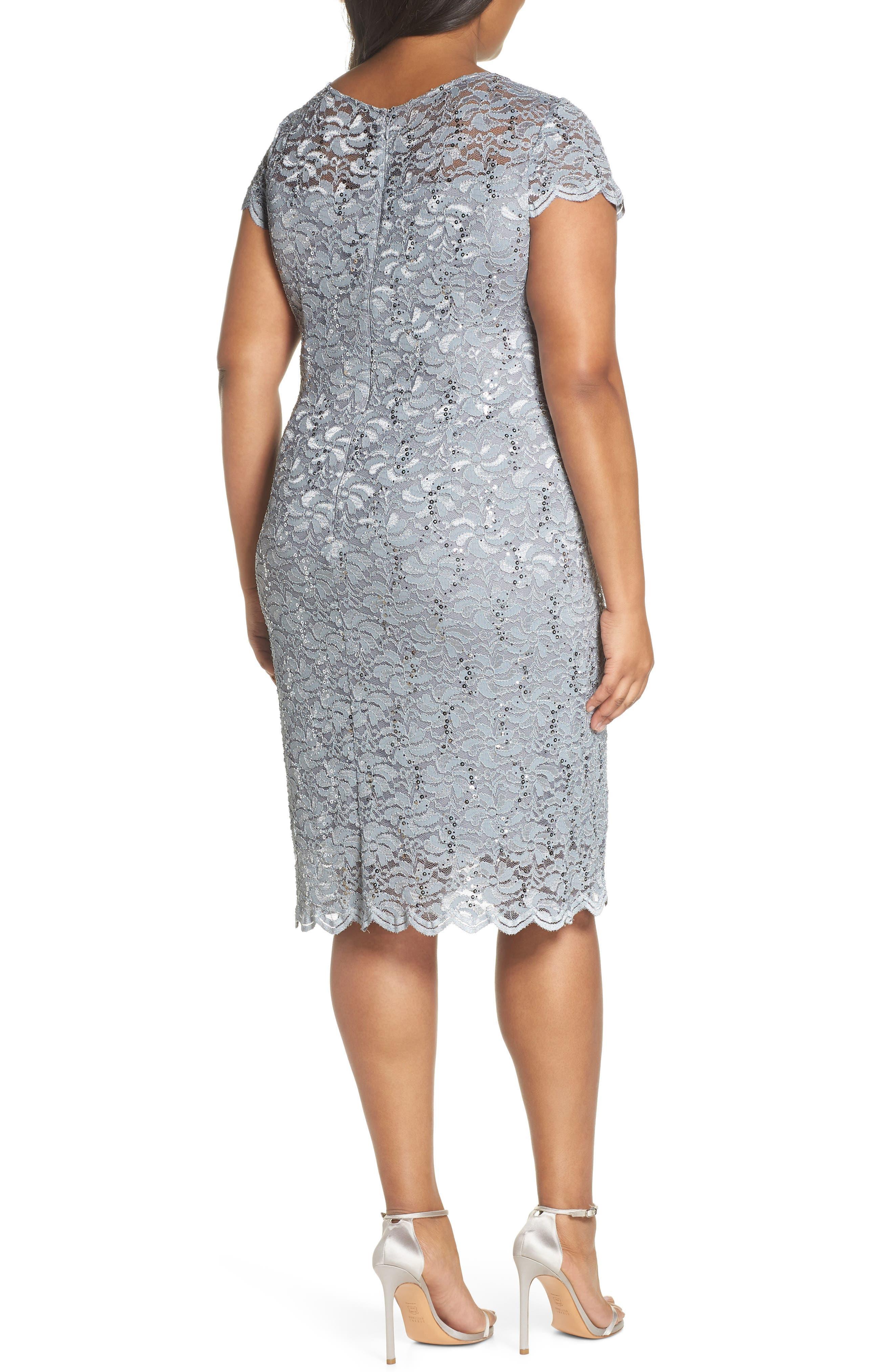 Sequin Lace Sheath Dress,                             Alternate thumbnail 2, color,                             Platinum