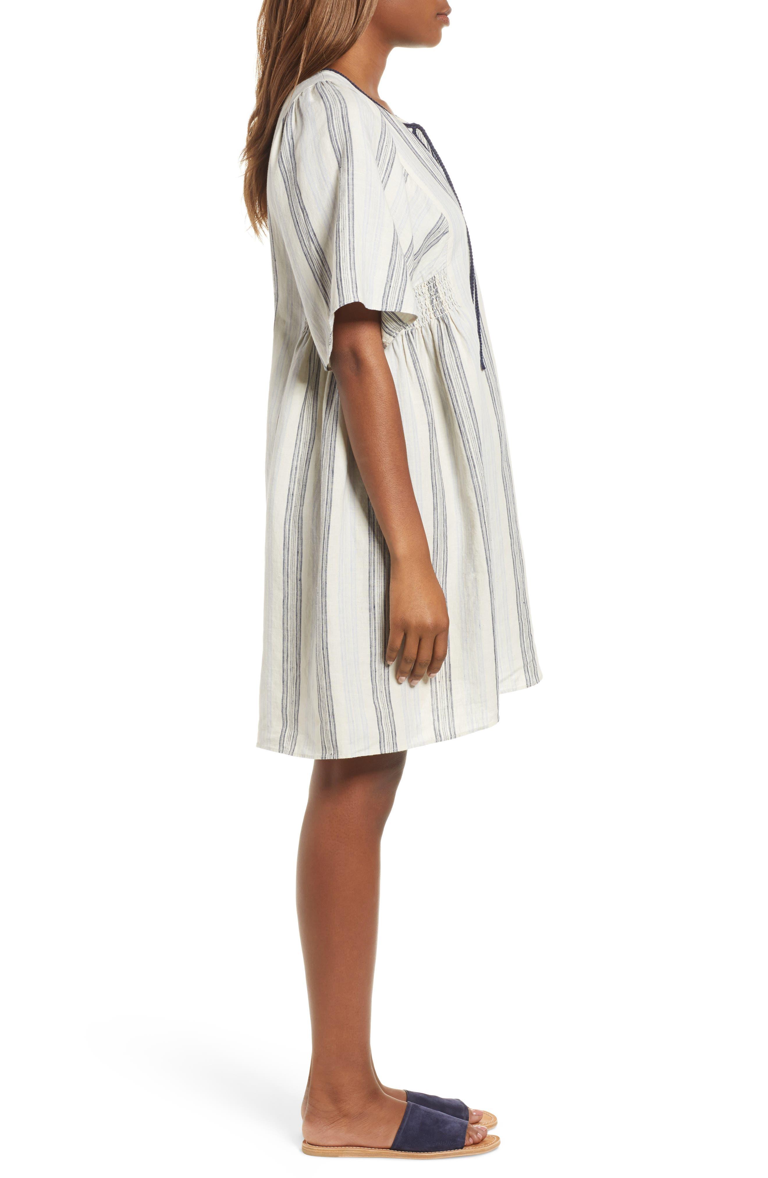 Stripe Linen Keyhole Shift Dress,                             Alternate thumbnail 3, color,                             Beige Rainy Day Frankie Stripe
