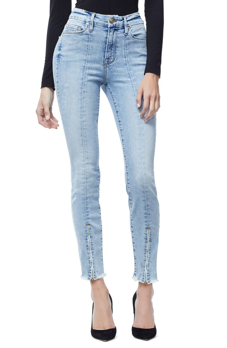 Good Waist Zip Hem Ankle Skinny Jeans