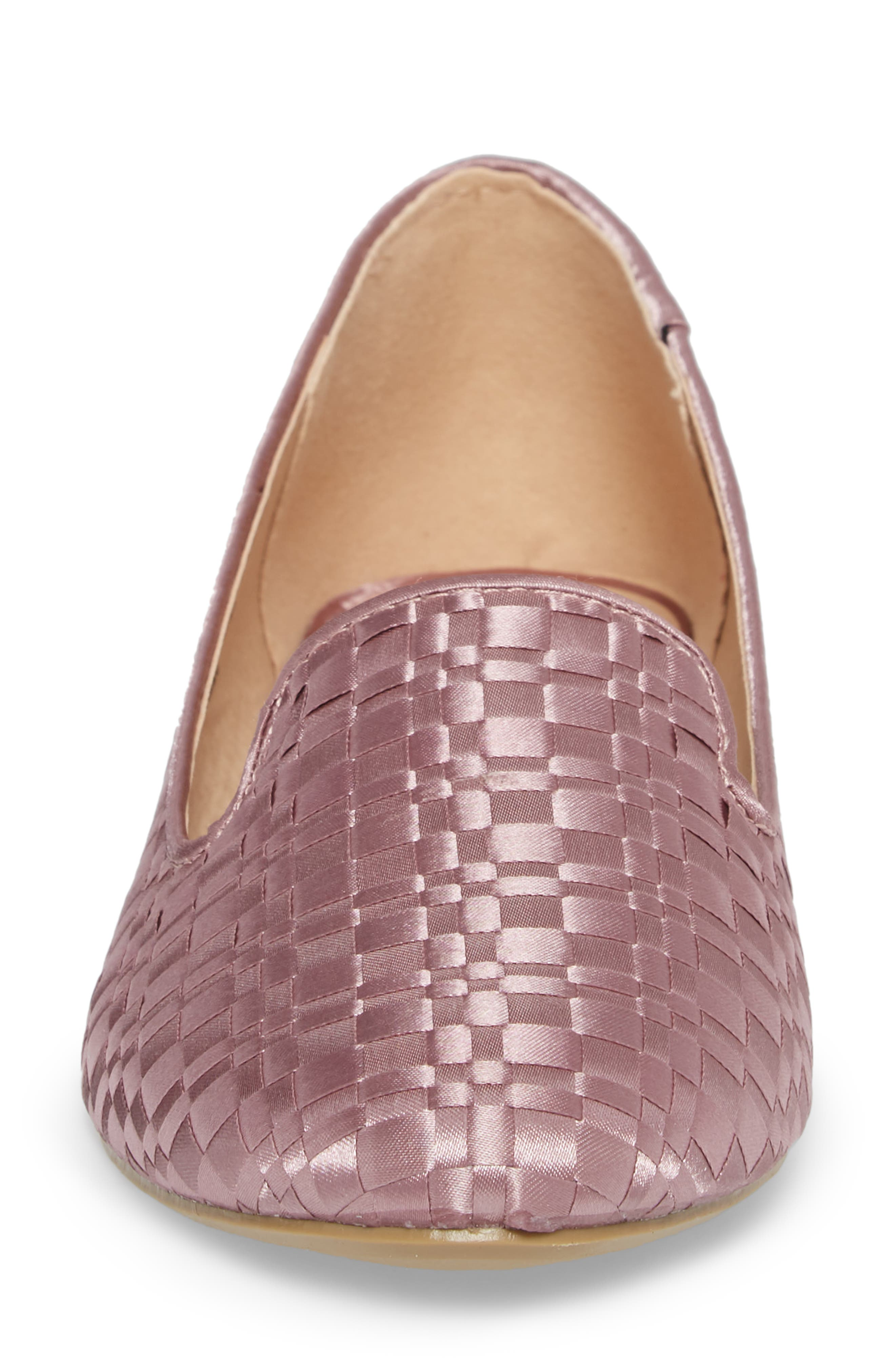 Sasha Textured Woven Loafer,                             Alternate thumbnail 4, color,                             Pink