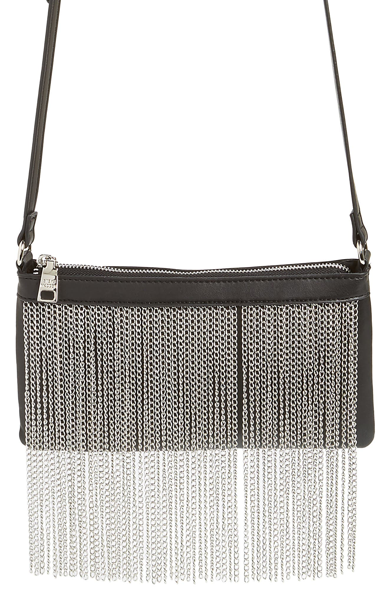 Chain Fringe Crossbody Bag,                             Main thumbnail 1, color,                             Black