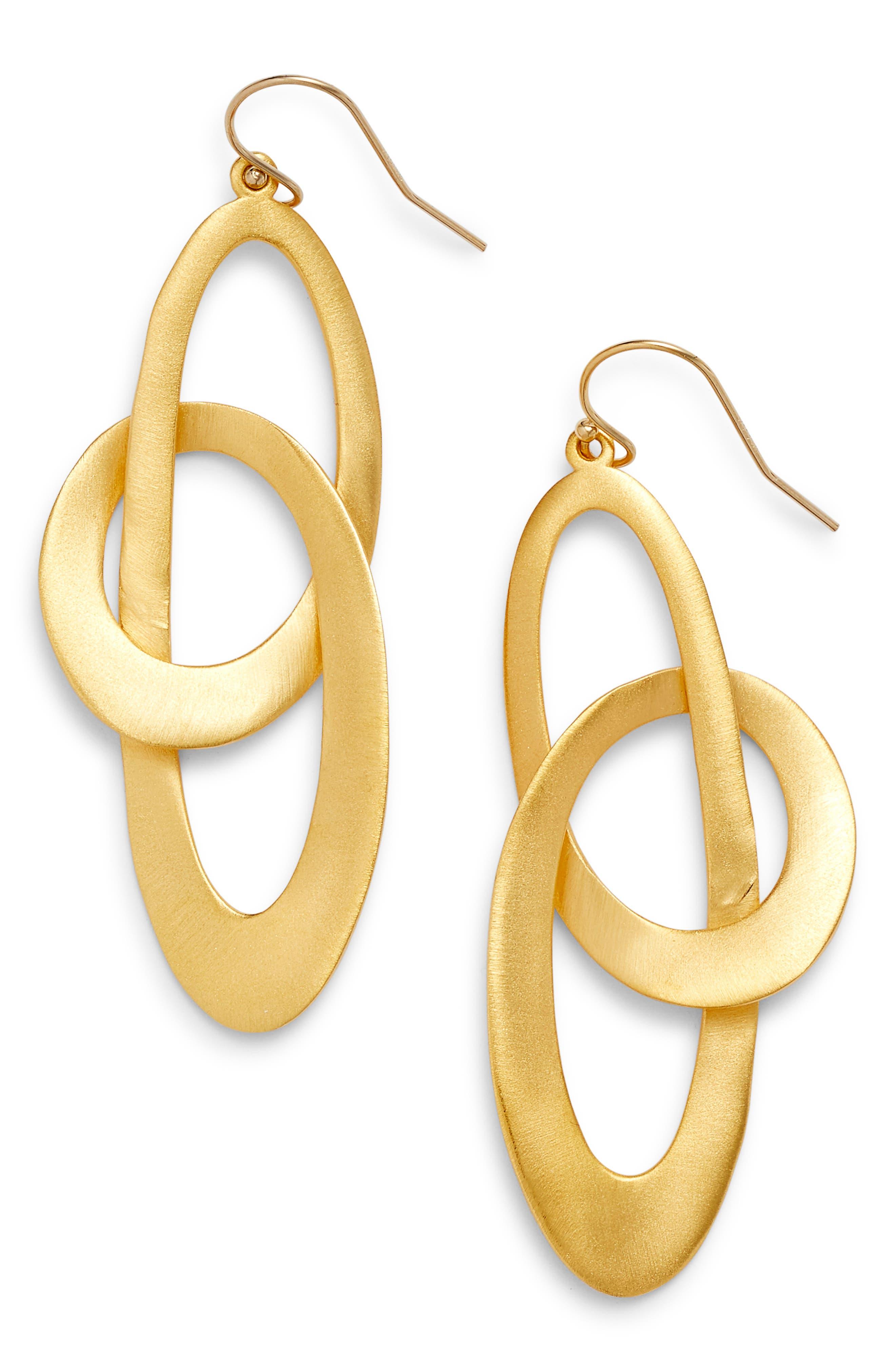 Duna Loop Drop Earrings,                             Main thumbnail 1, color,                             Gold
