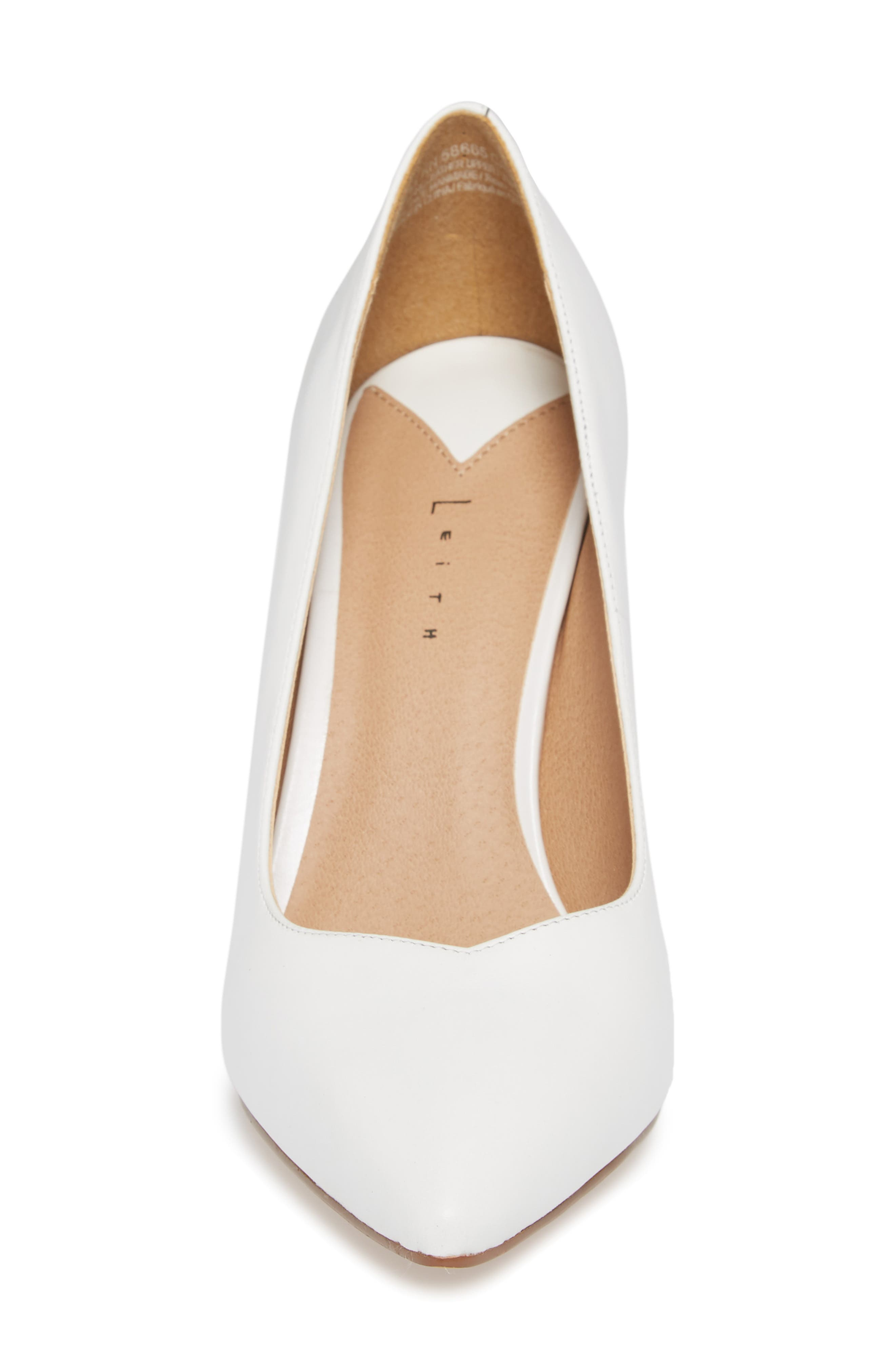 Palma Pointy Toe Pump,                             Alternate thumbnail 3, color,                             White Leather