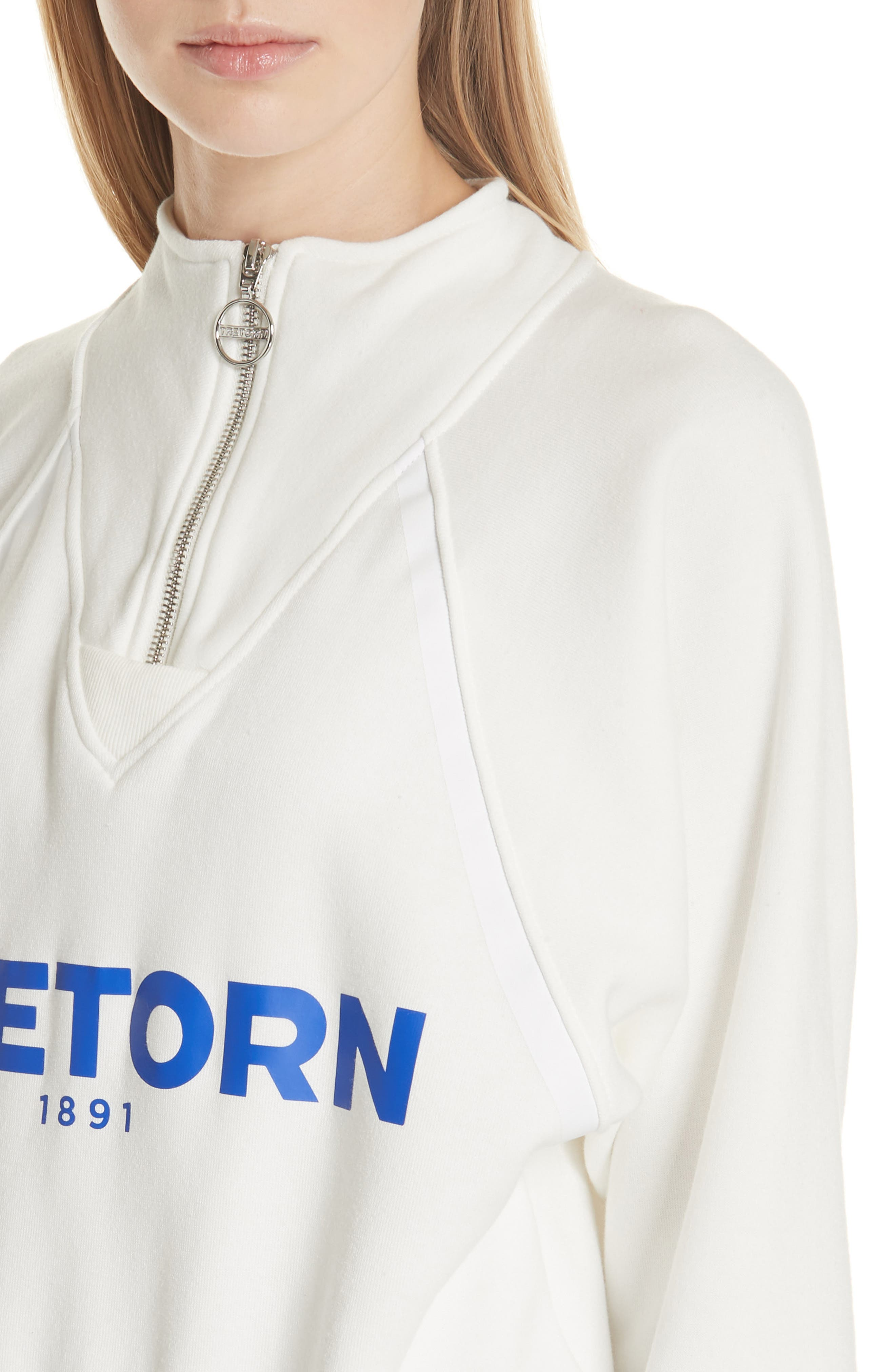 Graphic Half Zip Pullover,                             Alternate thumbnail 4, color,                             White