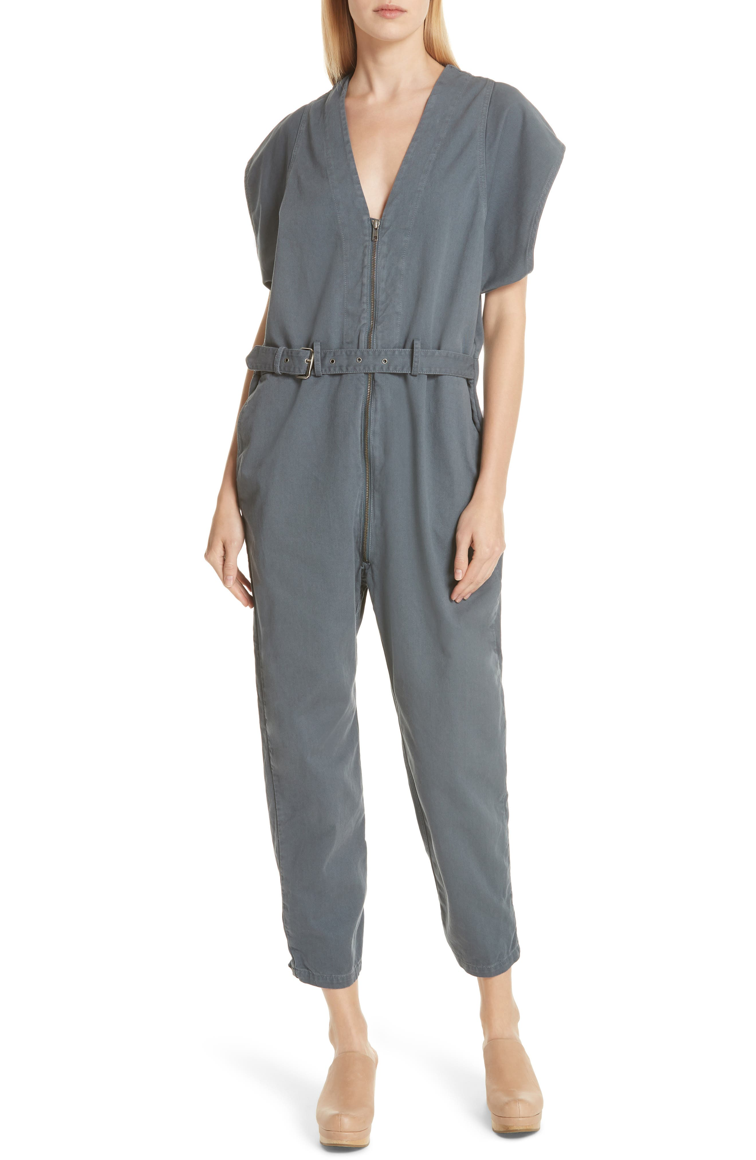Level Belted Jumpsuit,                         Main,                         color, Charcoal