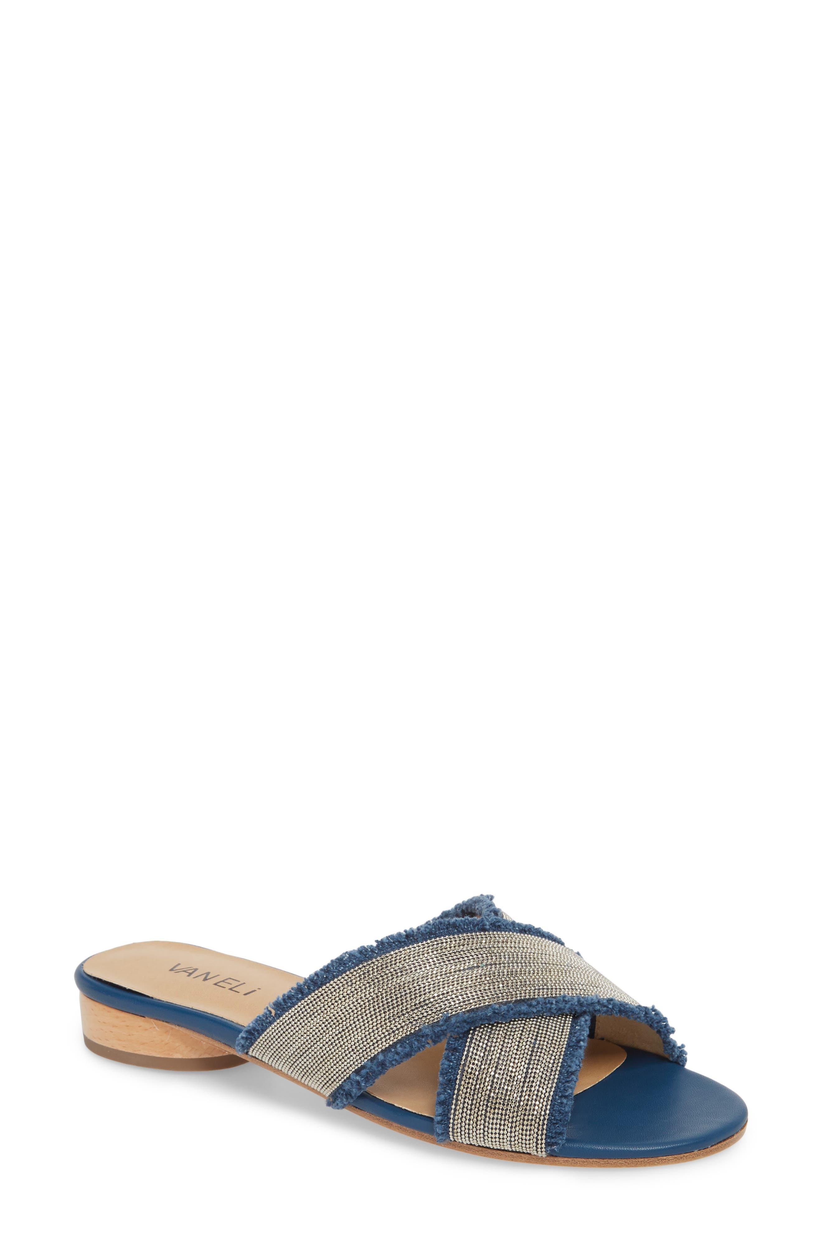 Baret Embellished Cross Strap Slide Sandal,                             Main thumbnail 1, color,                             Denim Fabric