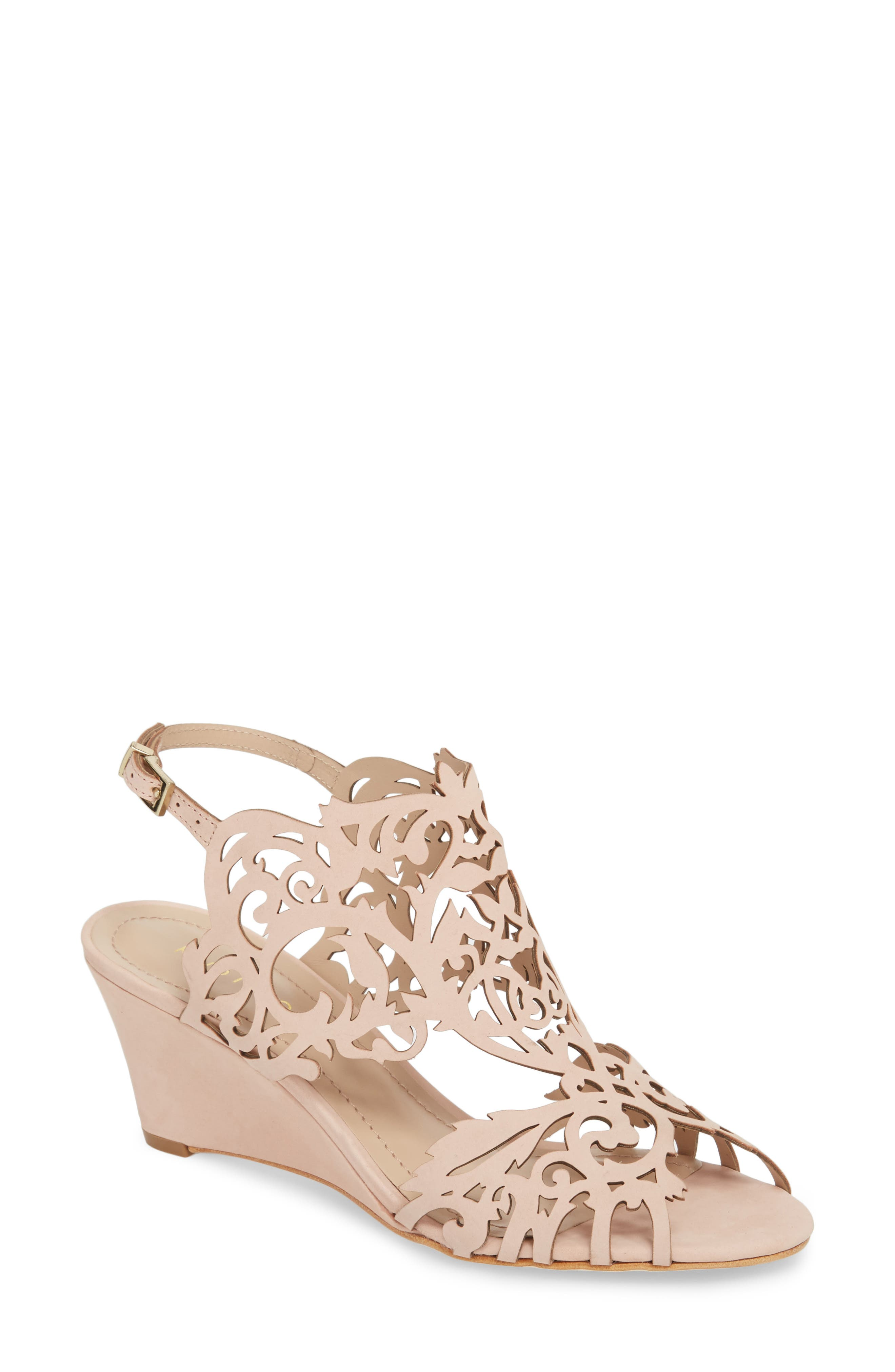 Marcela Laser Cutout Wedge Sandal,                         Main,                         color, Blush Leather