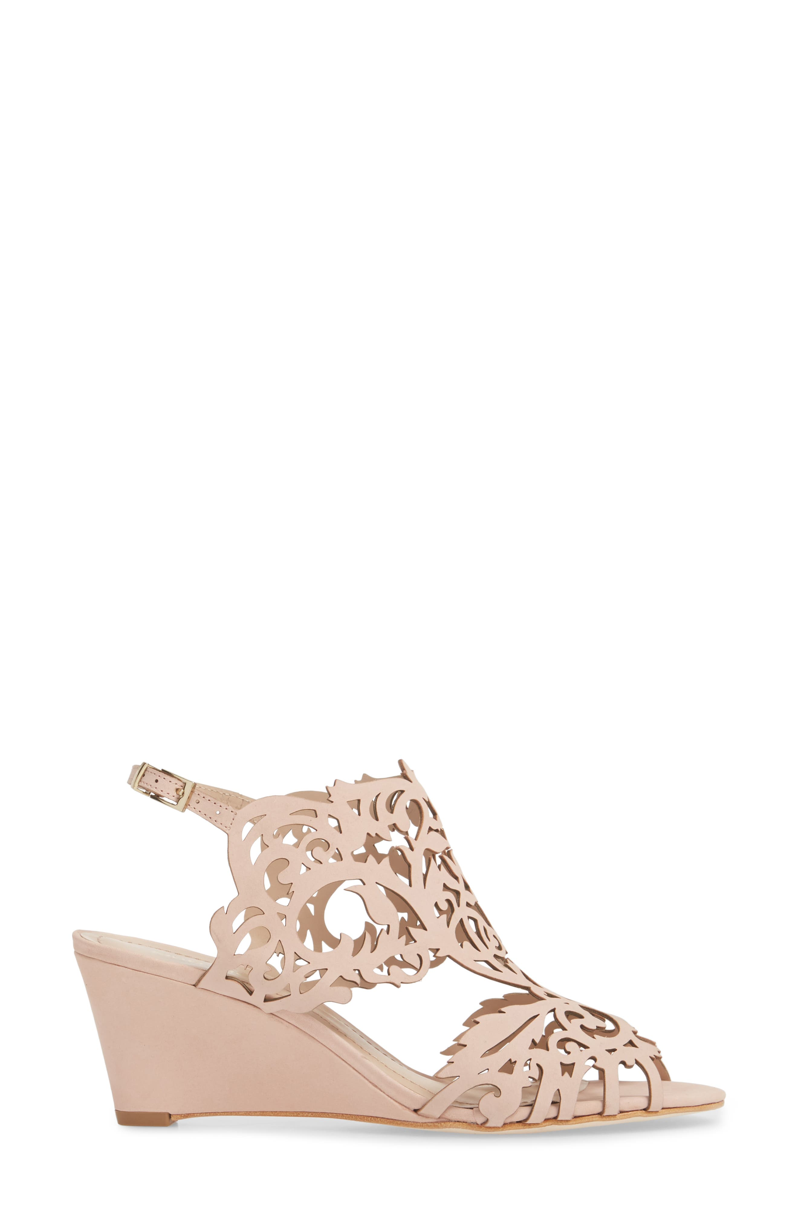 Marcela Laser Cutout Wedge Sandal,                             Alternate thumbnail 3, color,                             Blush Leather