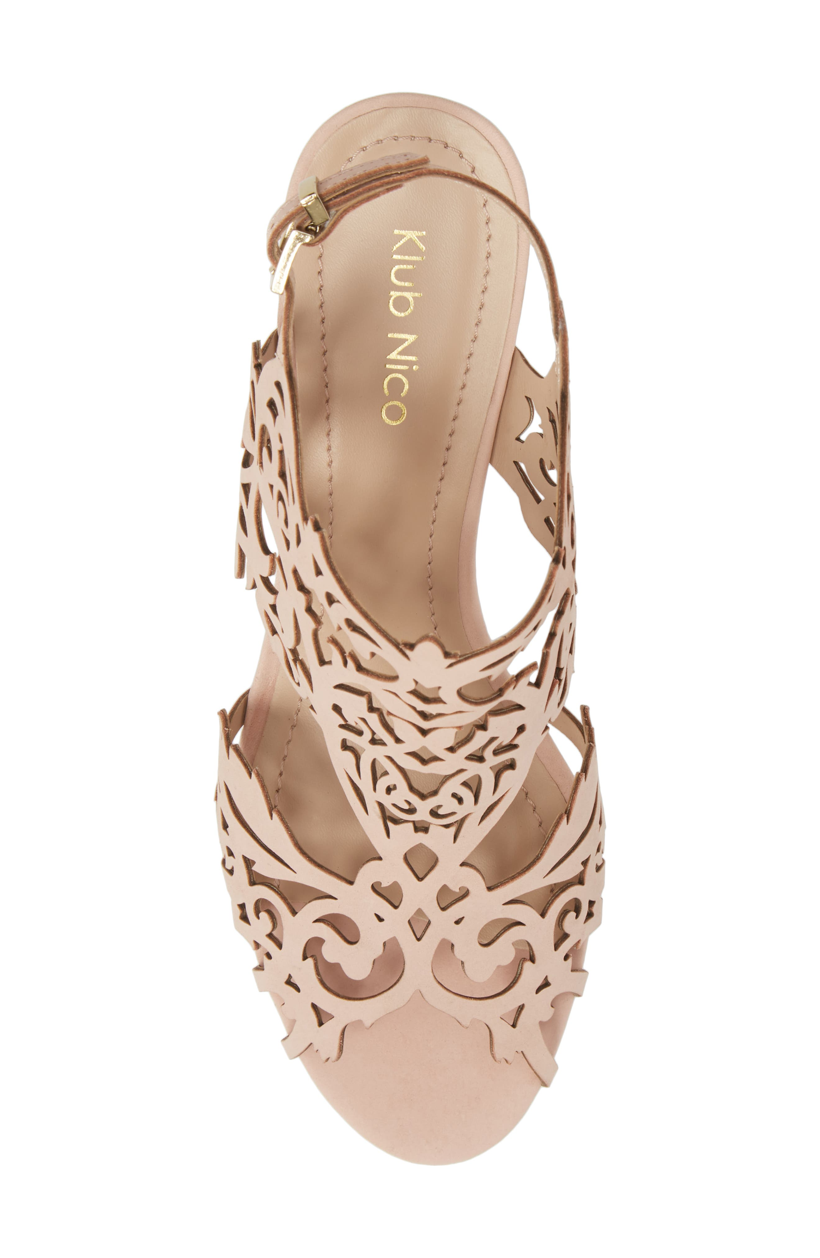 Marcela Laser Cutout Wedge Sandal,                             Alternate thumbnail 5, color,                             Blush Leather